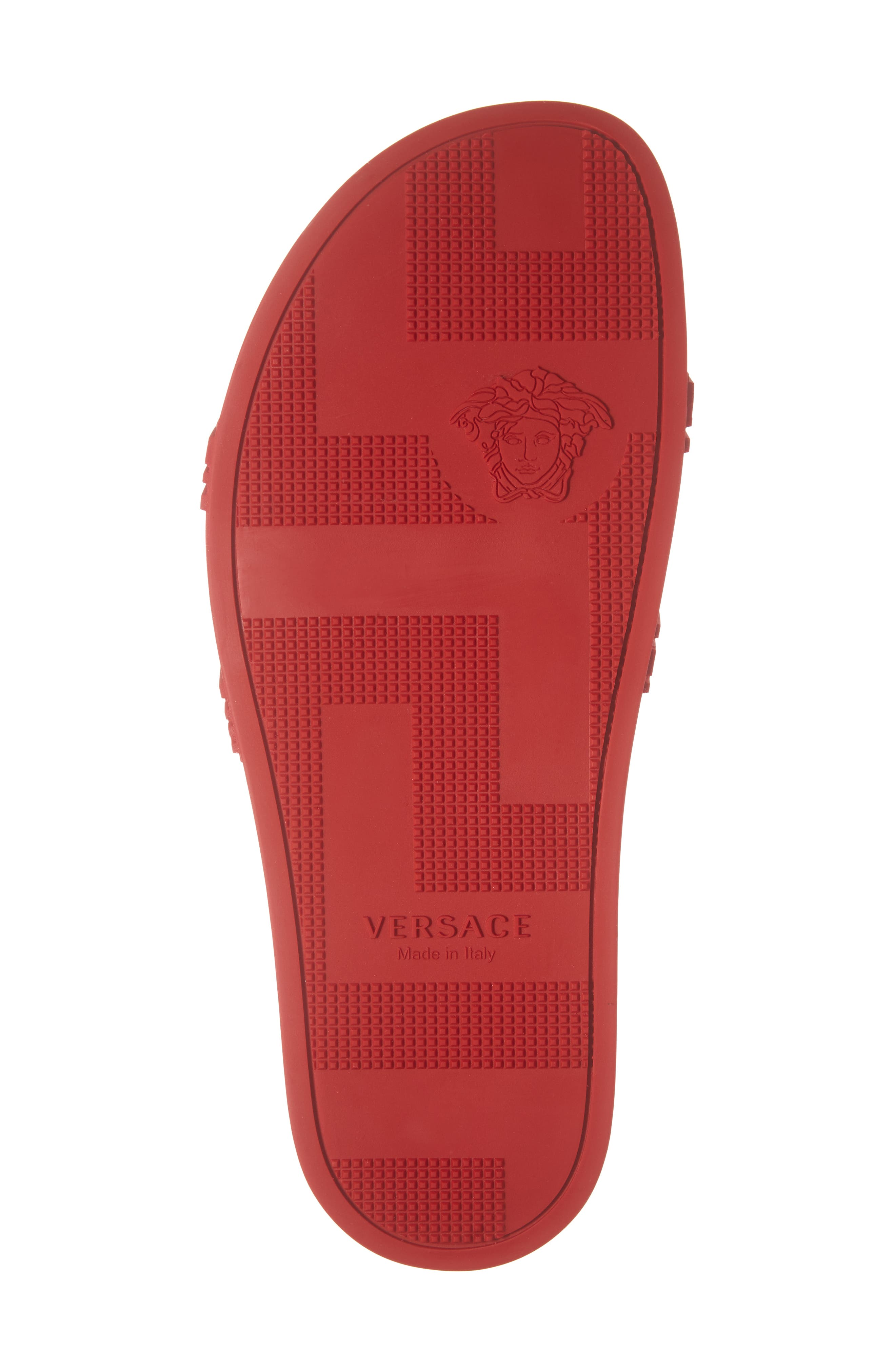 VERSACE, Palazzo Medusa Slide Sandal, Alternate thumbnail 6, color, RED