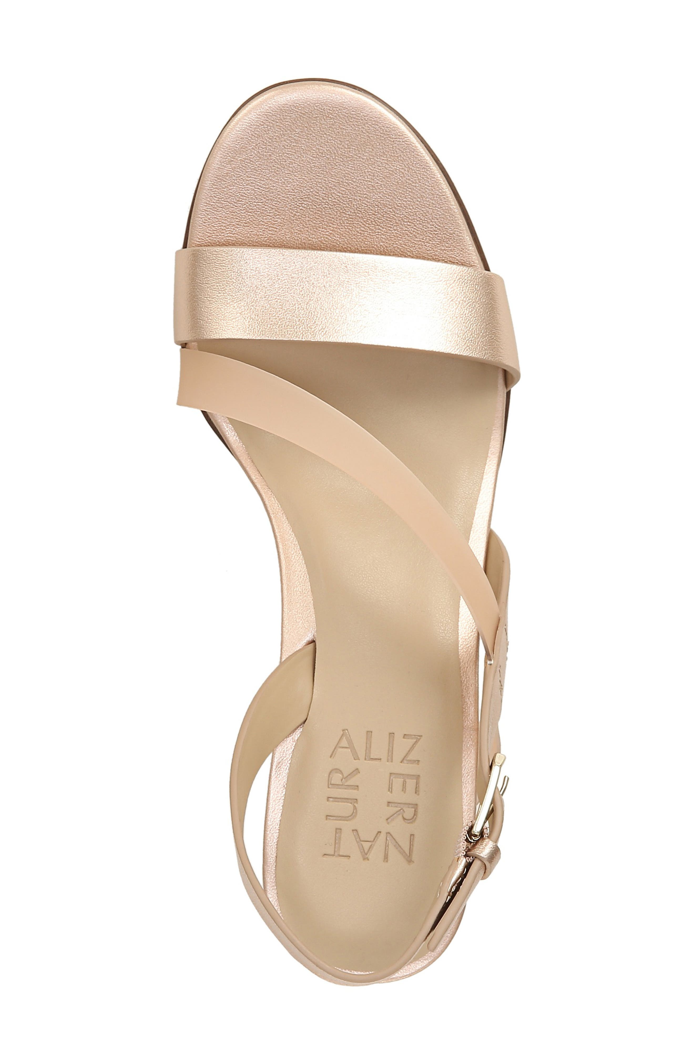 NATURALIZER, Arianna Block Heel Sandal, Alternate thumbnail 5, color, ROSE GOLD LEATHER