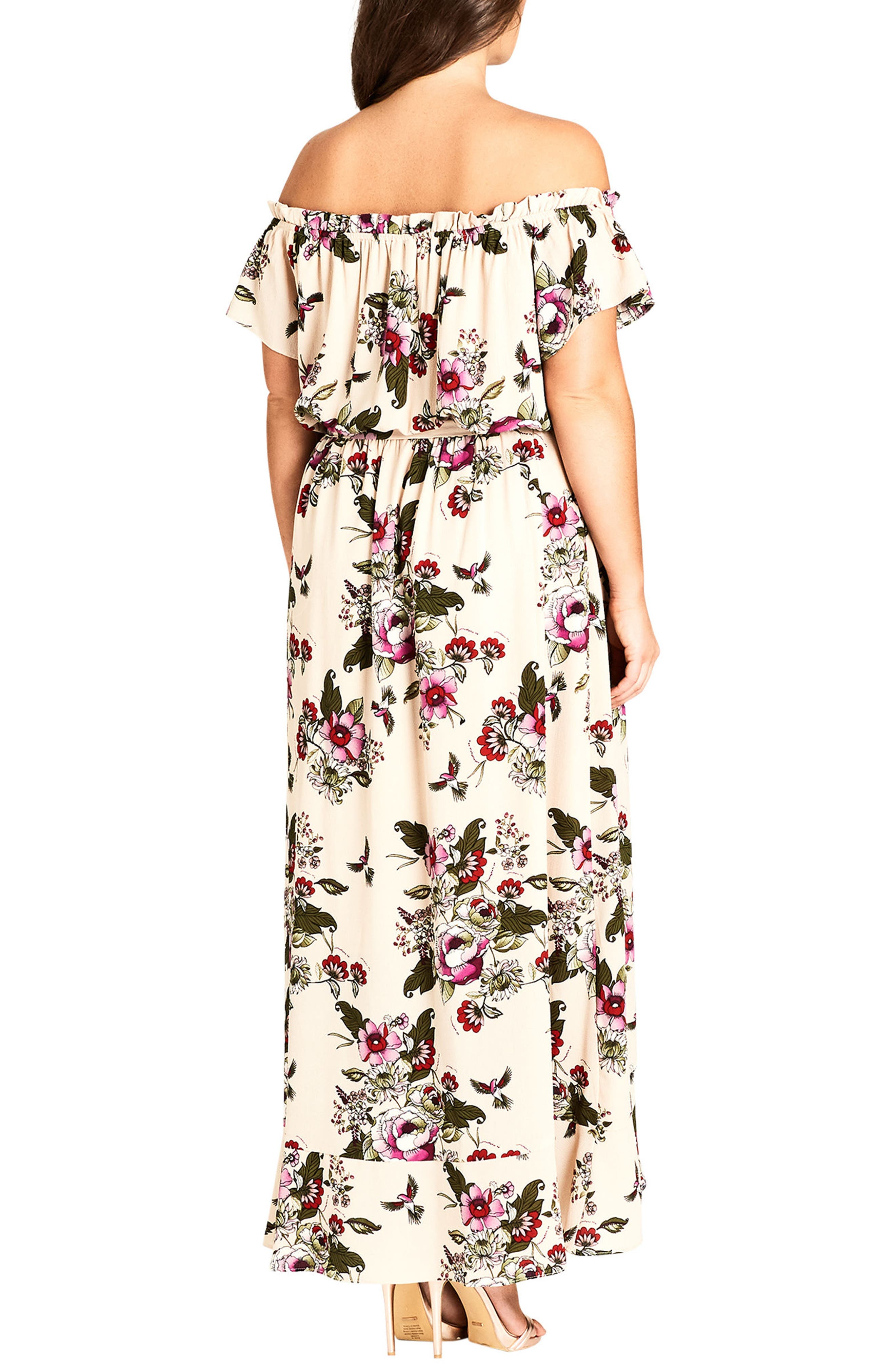 CITY CHIC, Lolita Floral Off the Shoulder Maxi Dress, Alternate thumbnail 2, color, ECRU
