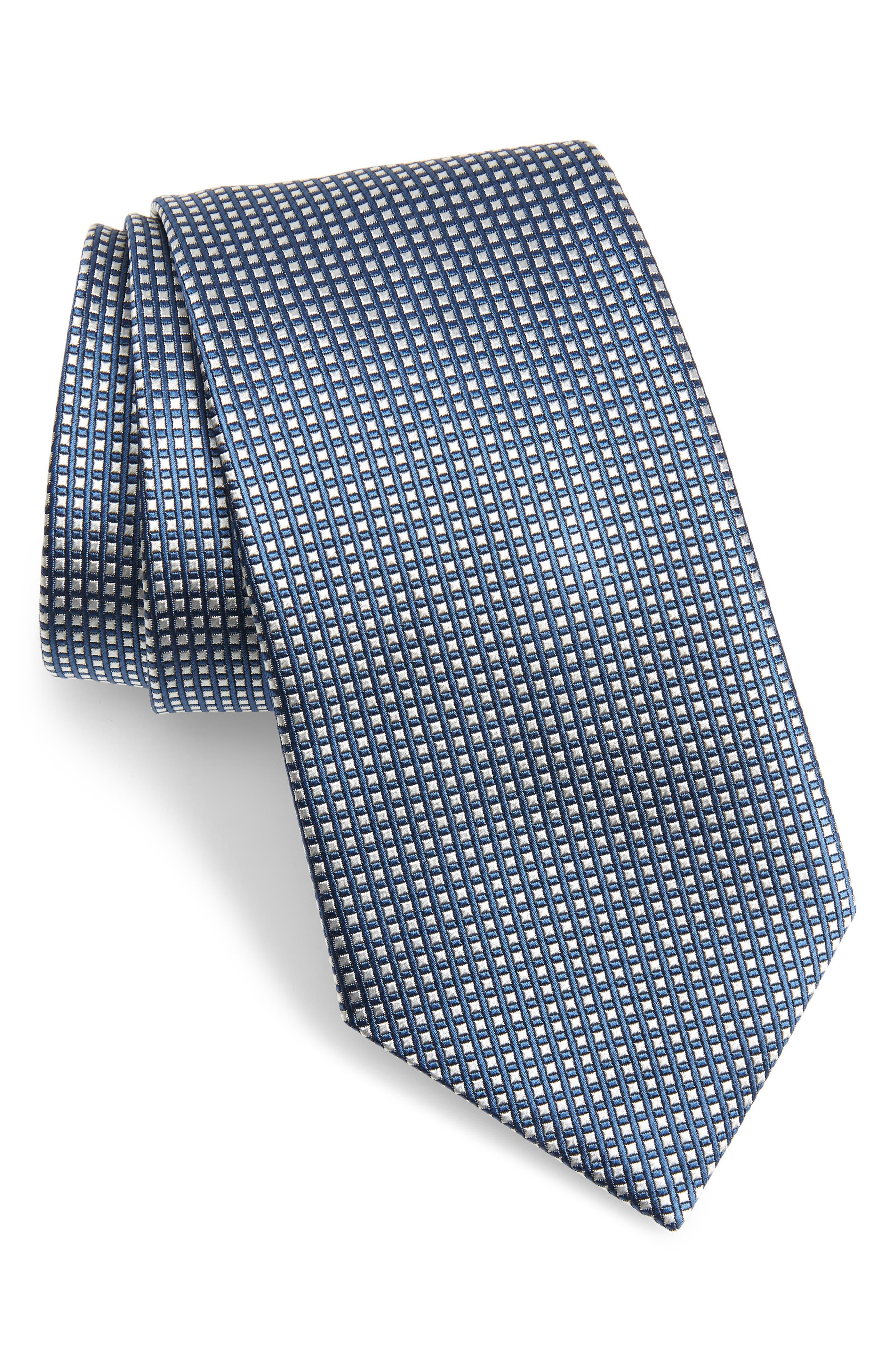 EMPORIO ARMANI, Plaid Silk Tie, Main thumbnail 1, color, BLUE