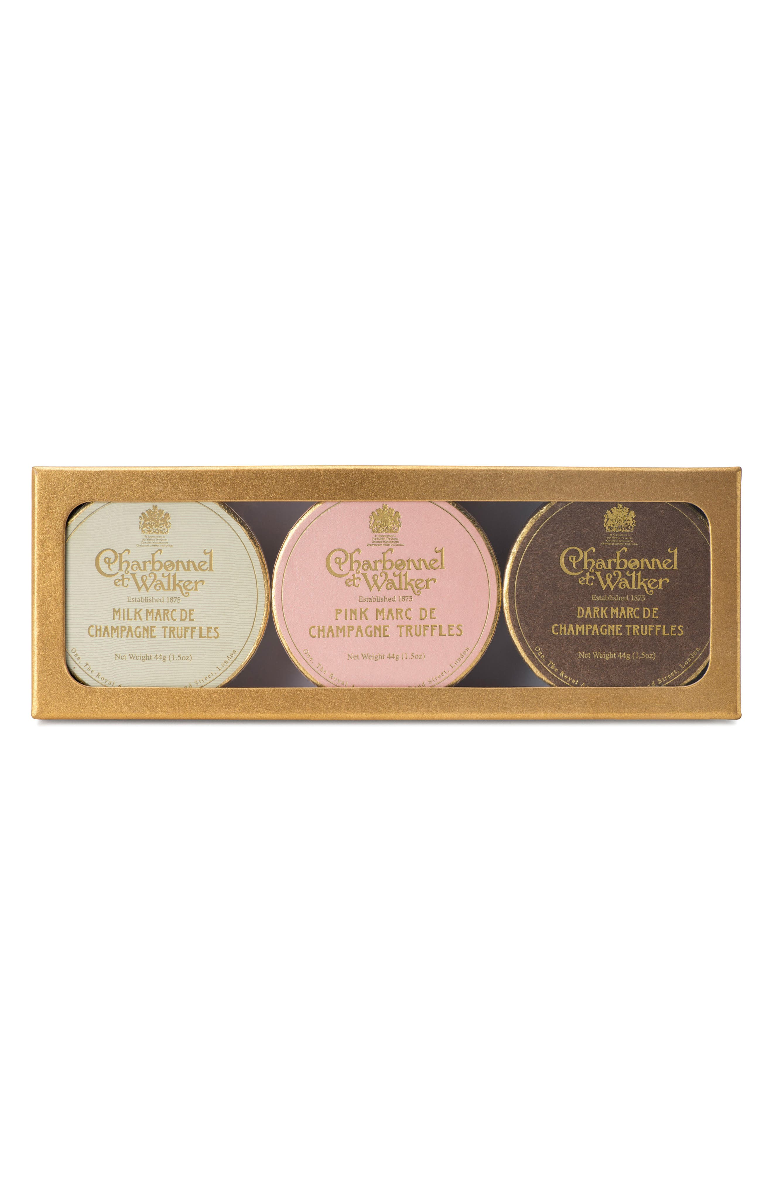 CHARBONNEL ET WALKER, Milk/Pink/Dark Chocolate Truffles in Gift Box, Main thumbnail 1, color, GOLD/ MULTI