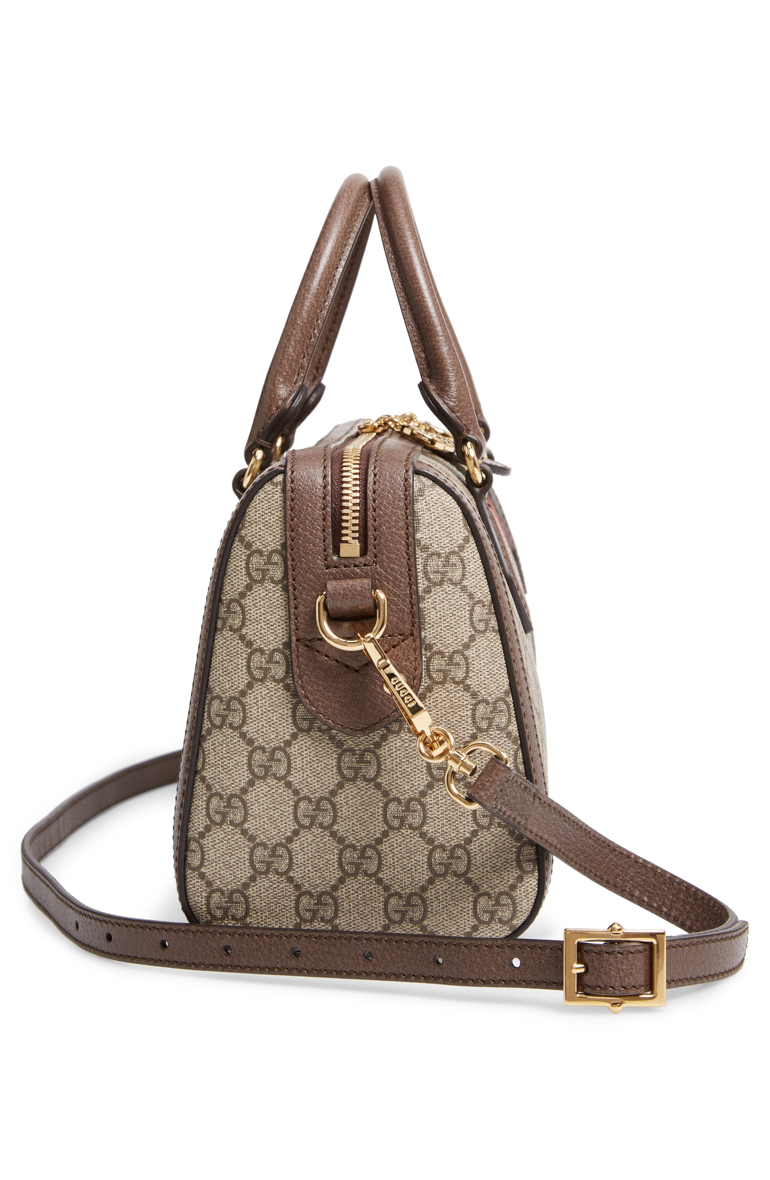 GUCCI, Ophidia GG Supreme Canvas Top Handle Bag, Alternate thumbnail 5, color, BEIGE EBONY/ ACERO/ VERT RED
