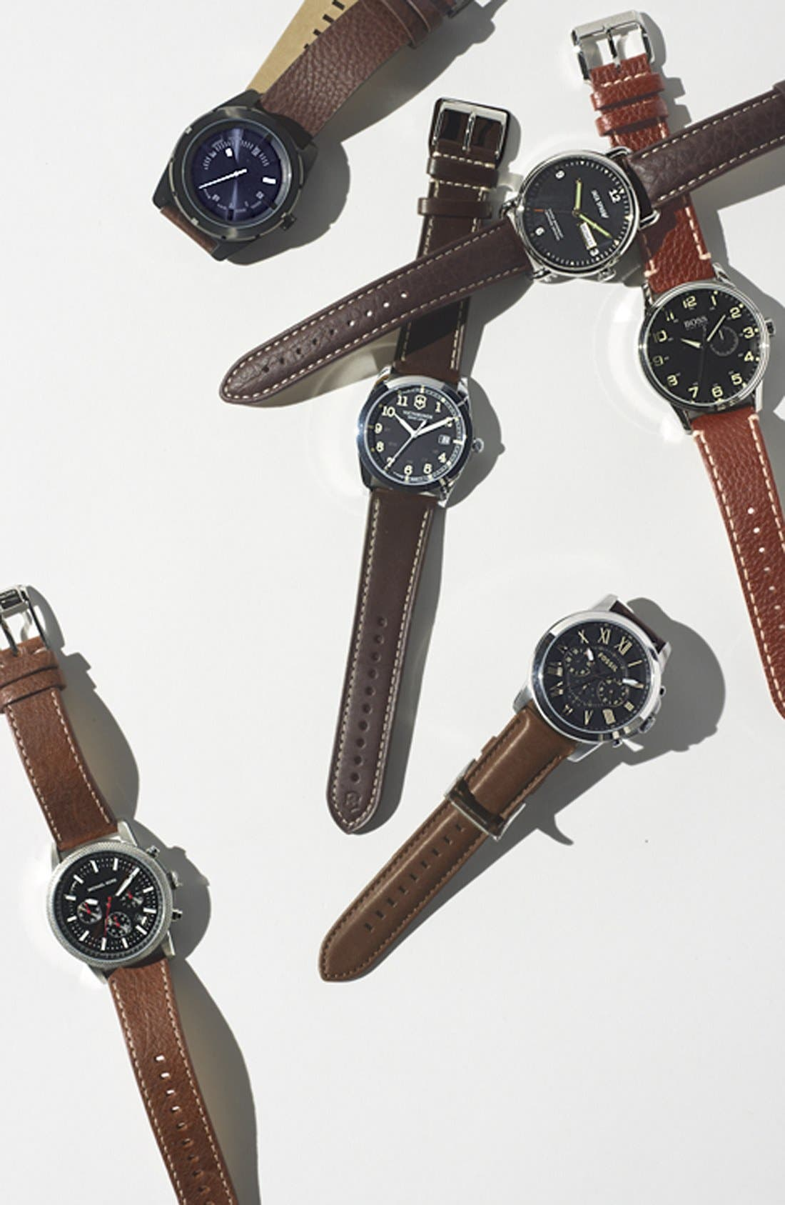 JACK SPADE, 'Buckner' Leather Strap Watch, 42mm, Alternate thumbnail 3, color, 001