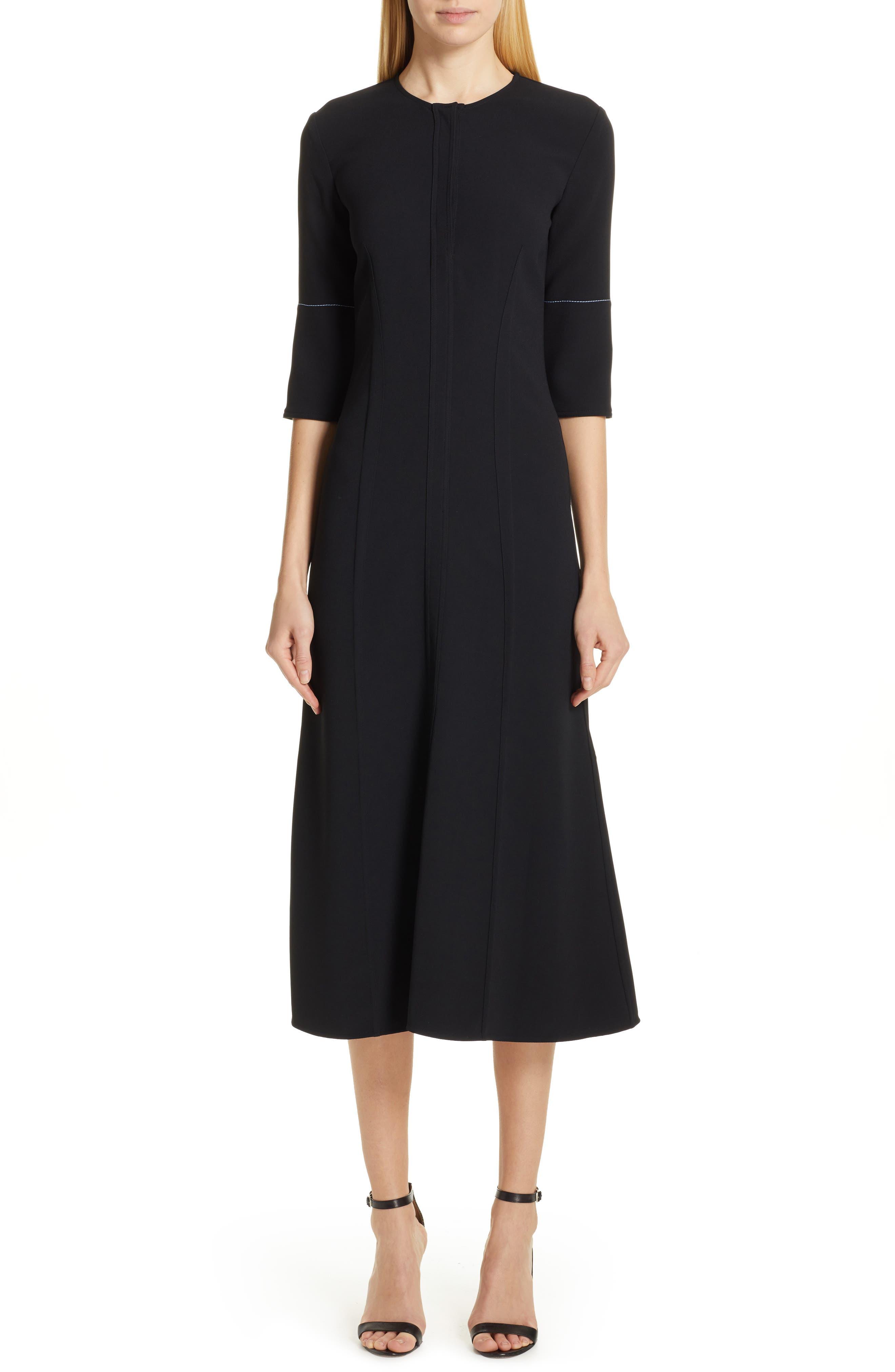 VICTORIA BECKHAM Contrast Stitch Crepe Dress, Main, color, BLACK