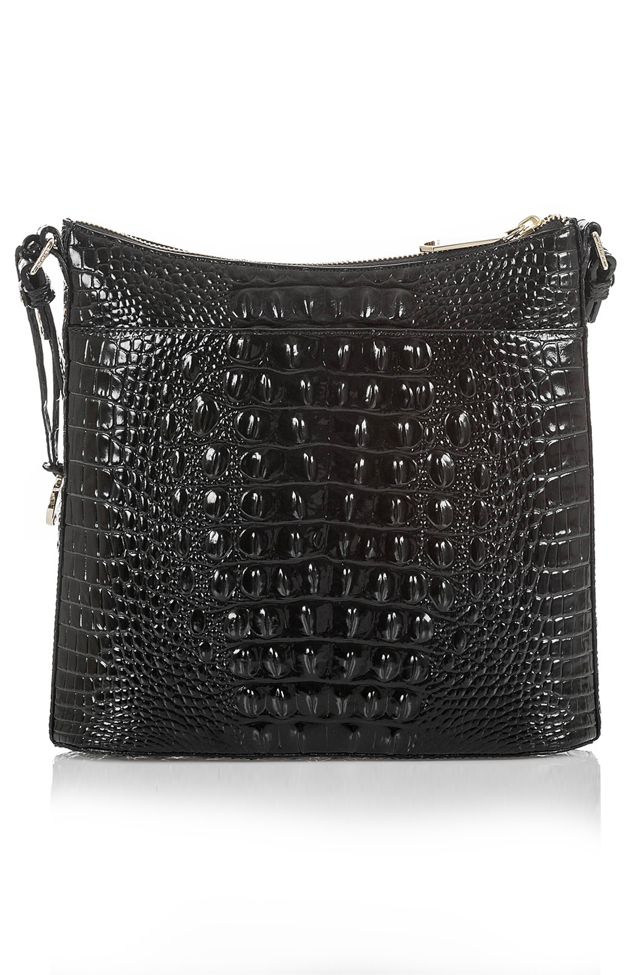 BRAHMIN, Katie Croc Embossed Leather Crossbody Bag, Alternate thumbnail 2, color, BLACK MEMBOURNE