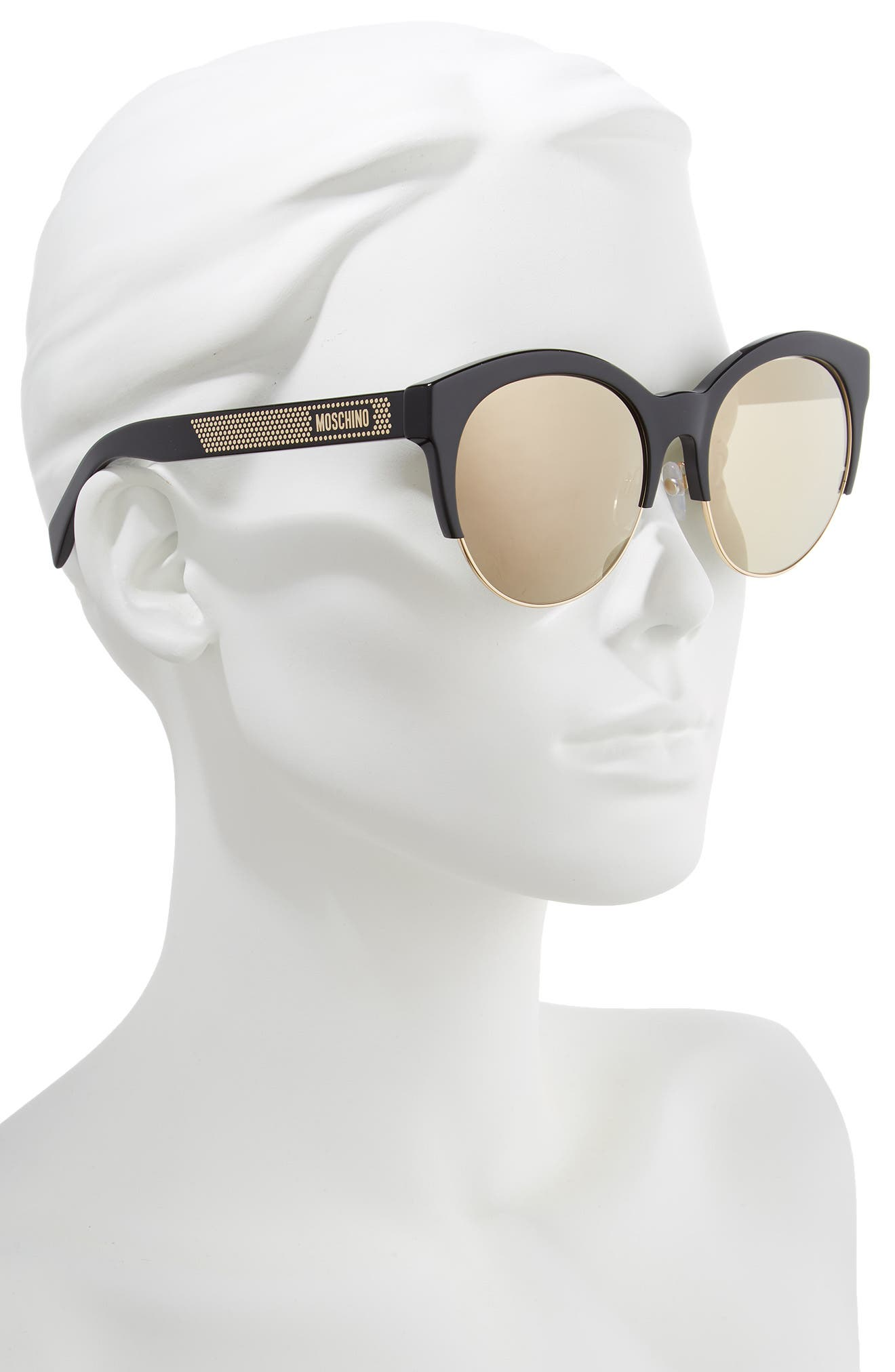 MOSCHINO, 56mm Special Fit Sunglasses, Alternate thumbnail 2, color, BLACK