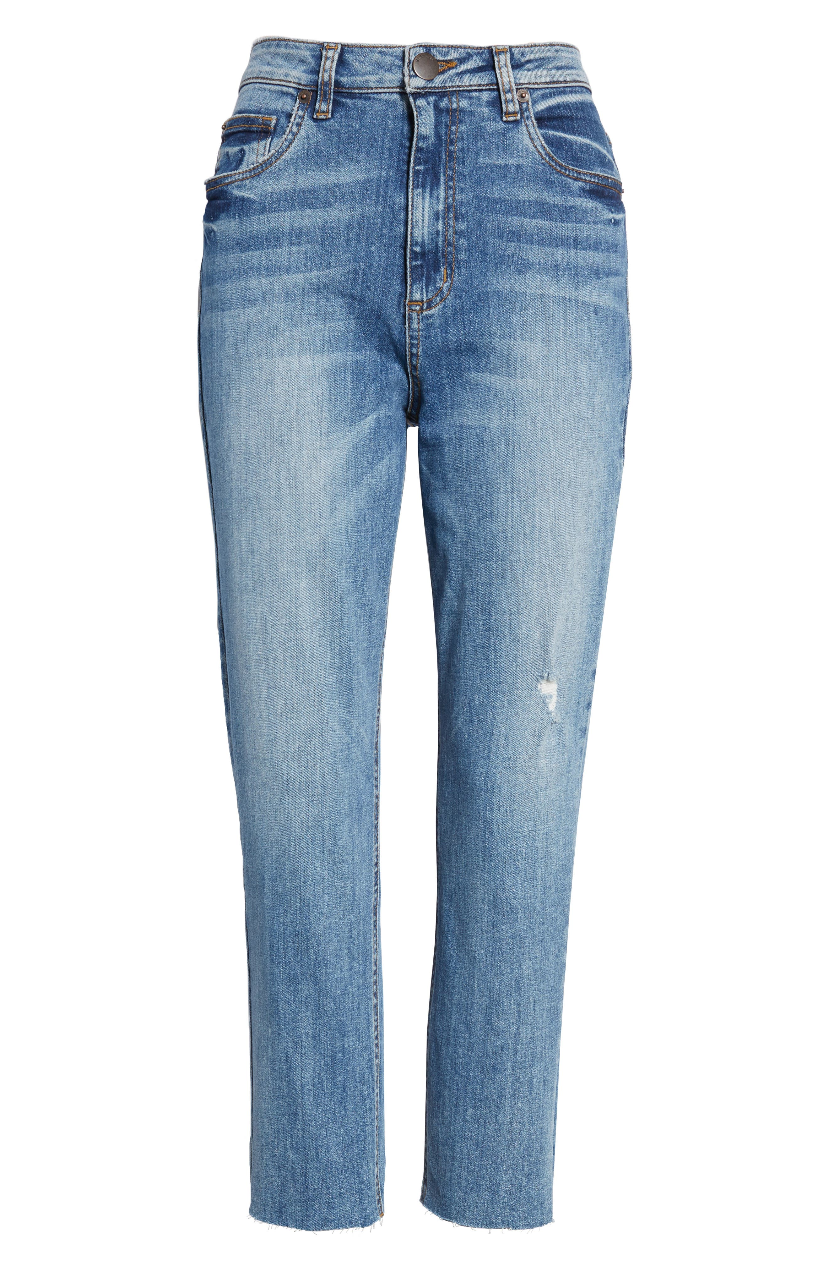 STS BLUE, Alicia High Waist Crop Mom Jeans, Alternate thumbnail 7, color, PROCTOR