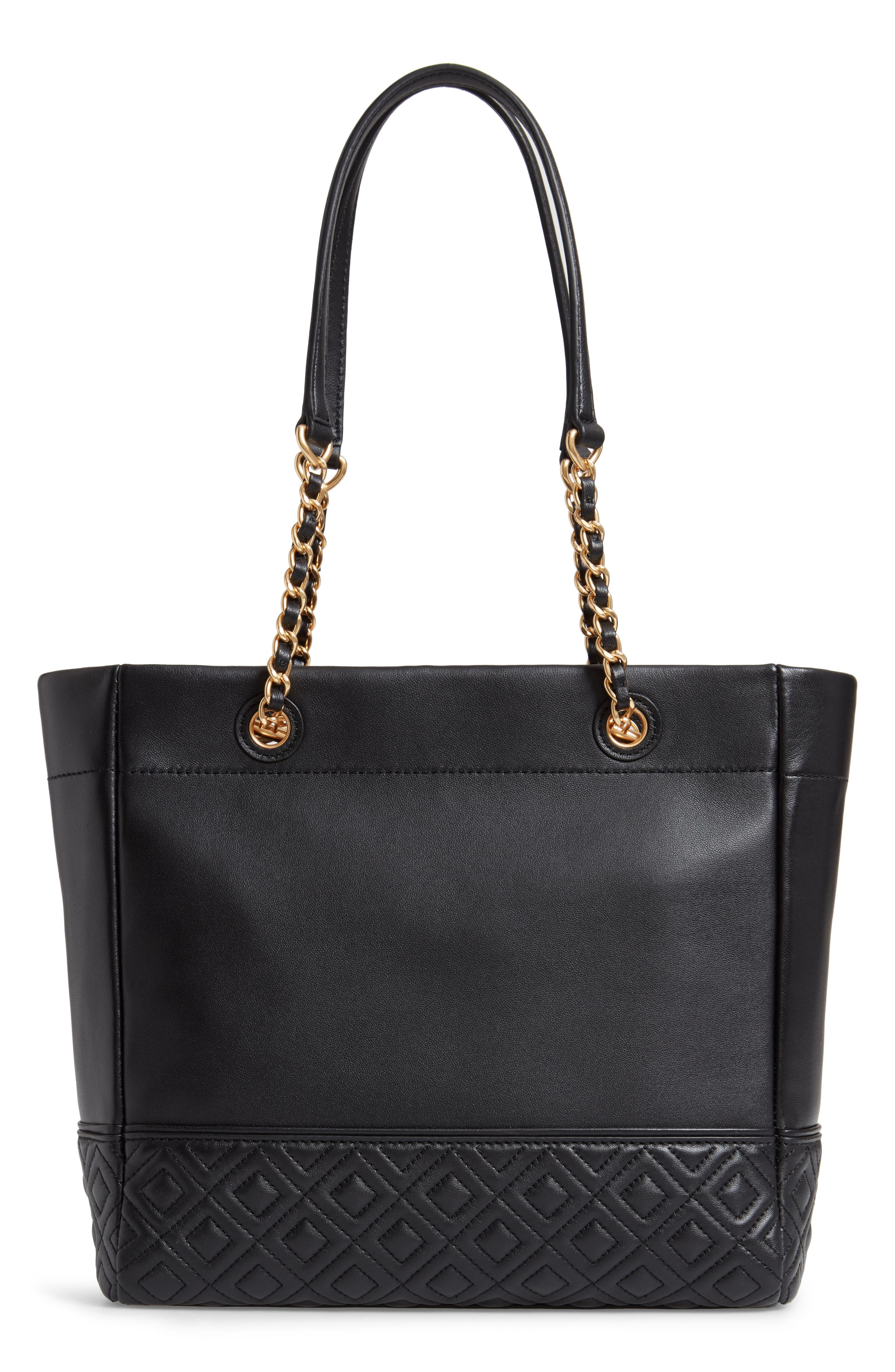 TORY BURCH, Fleming Leather Tote, Alternate thumbnail 4, color, BLACK