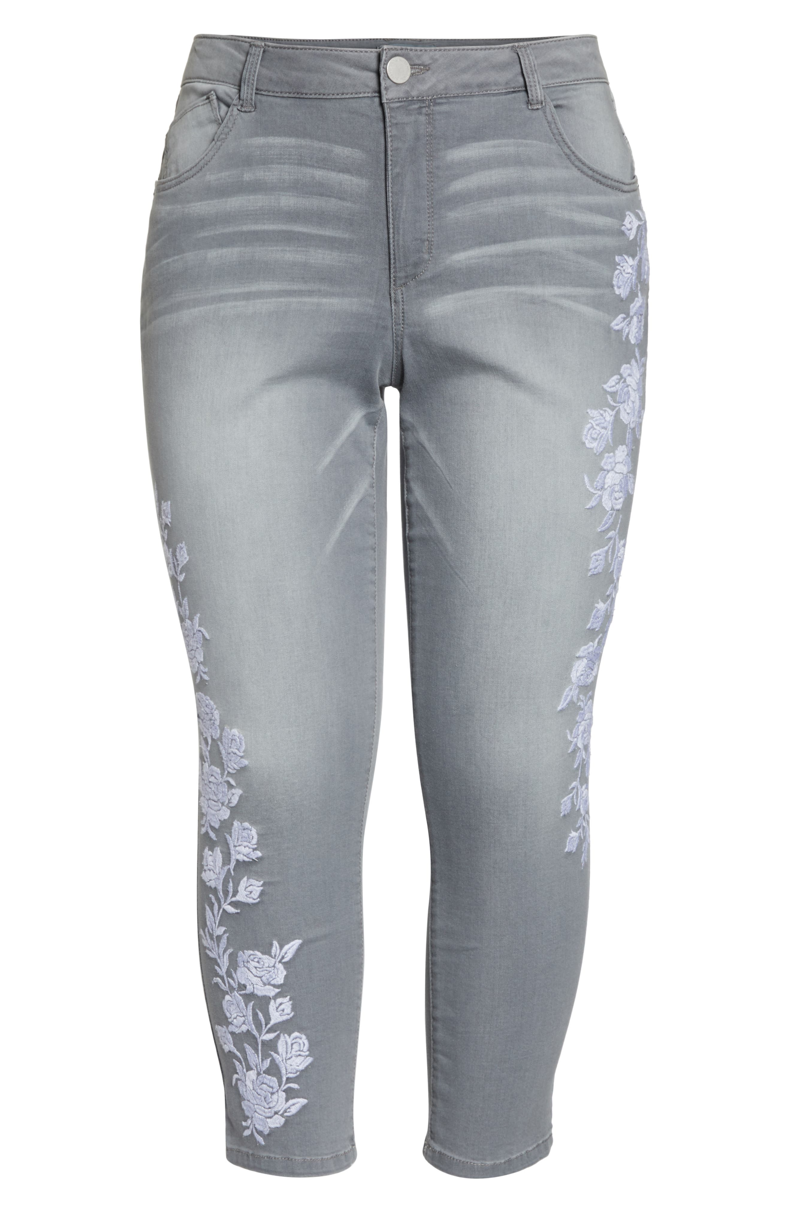 WIT & WISDOM, Embroidered High Waist Ankle Slim Jeans, Alternate thumbnail 7, color, GREY