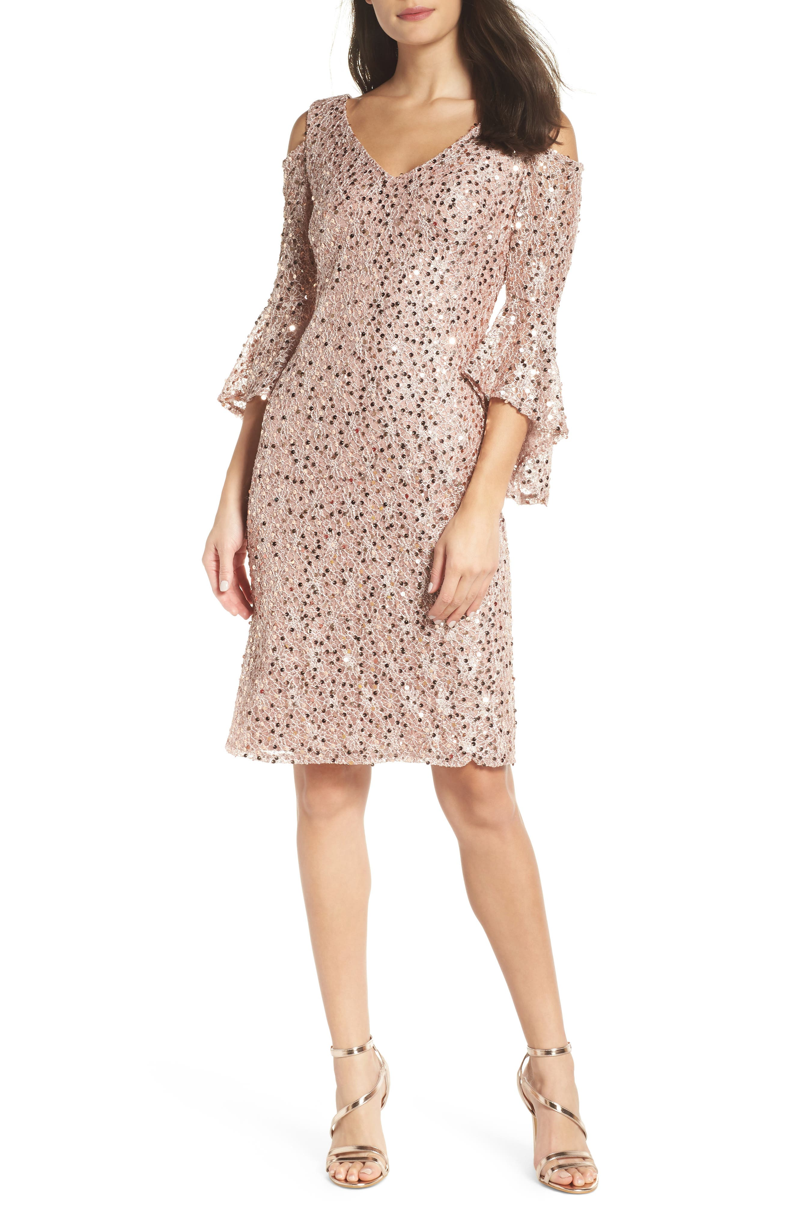 Morgan & Co. Sequin Lace Cocktail Sheath, Pink
