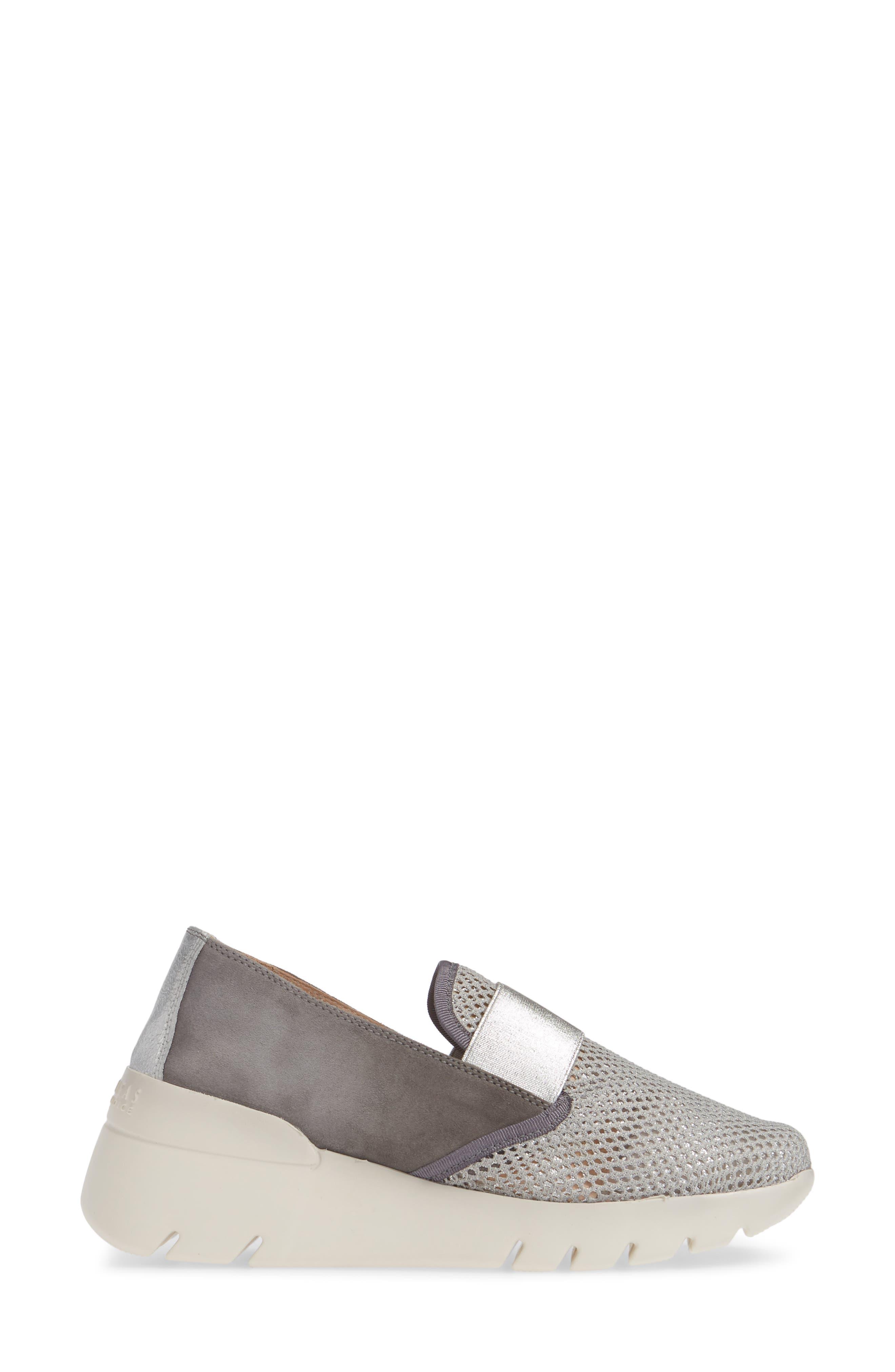 HISPANITAS, Reeva Slip-On Wedge Sneaker, Alternate thumbnail 3, color, GREY CARBON SUEDE