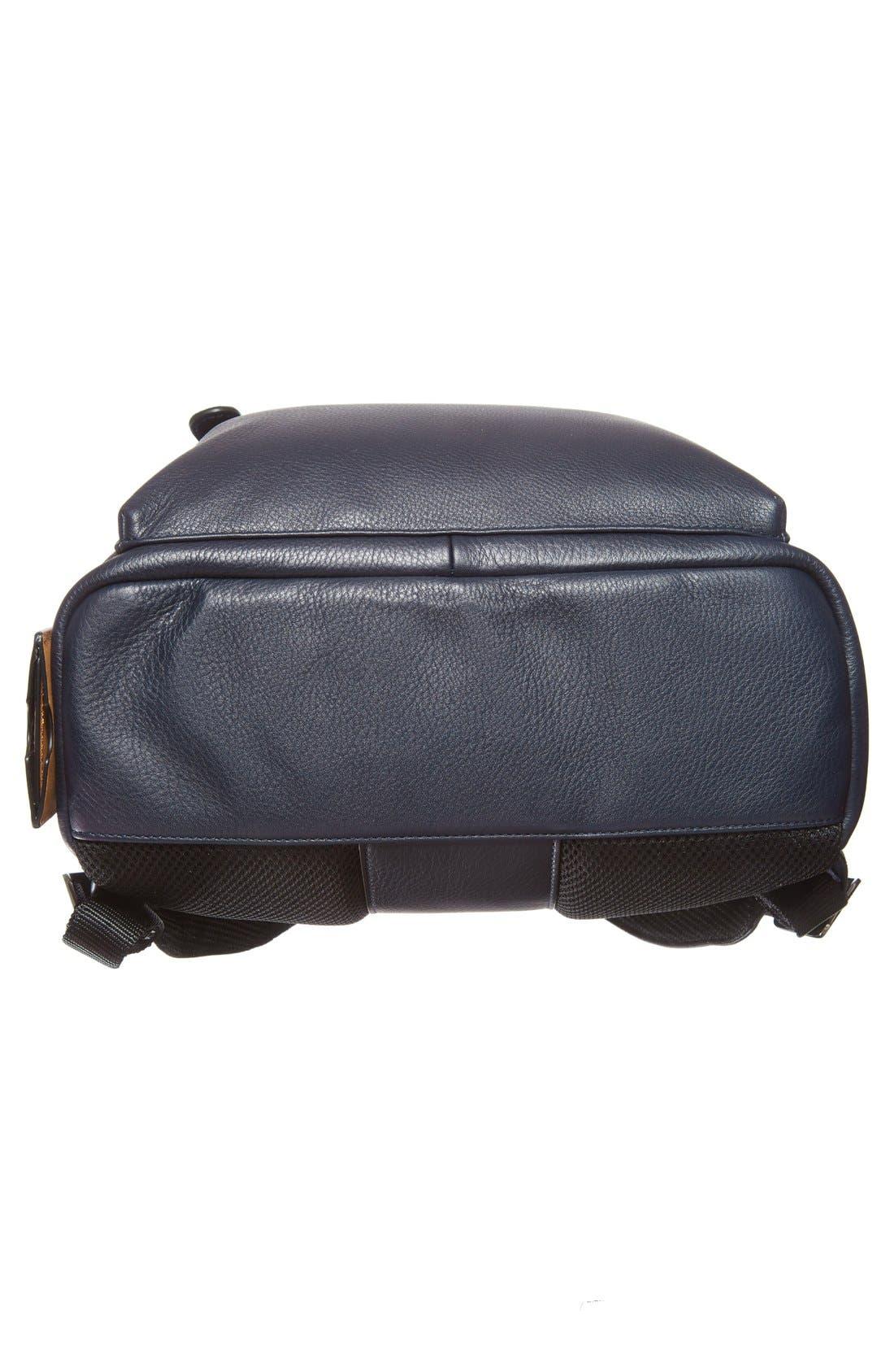 TED BAKER LONDON, 'Dollar' Leather Backpack, Alternate thumbnail 3, color, 410