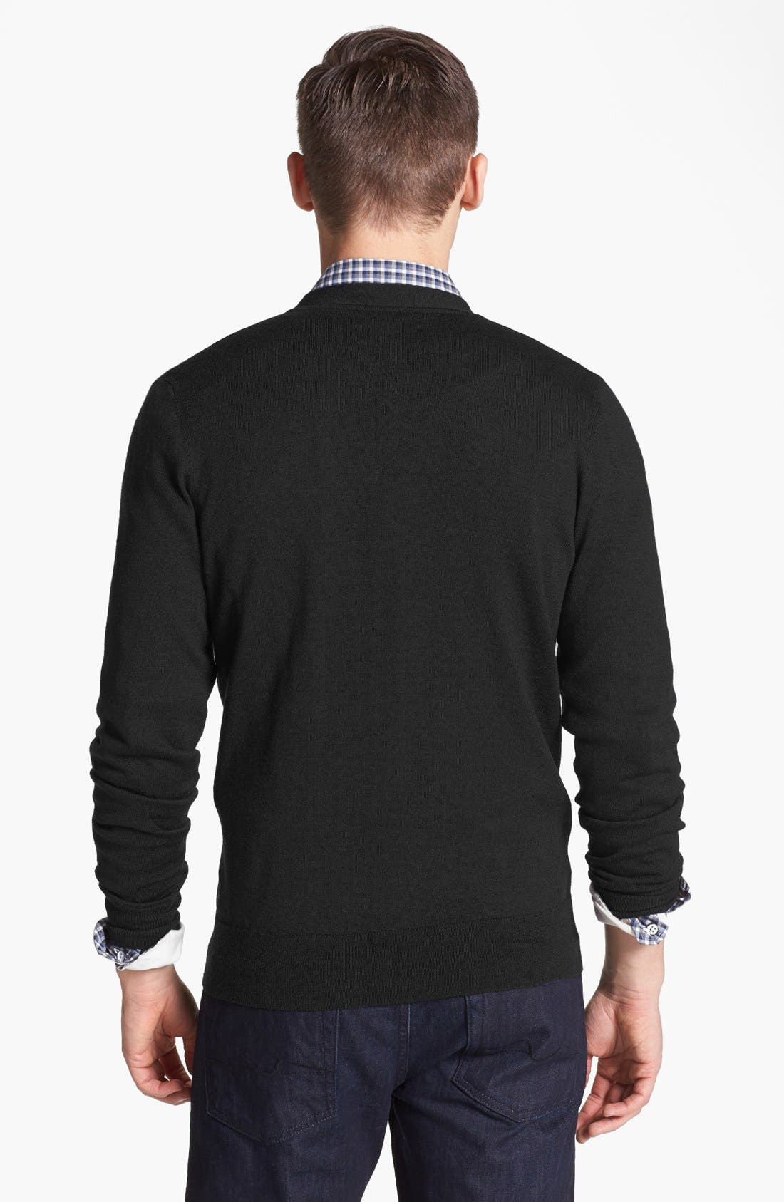 JACK SPADE, 'Brockman' Merino Wool Cardigan, Alternate thumbnail 2, color, 001