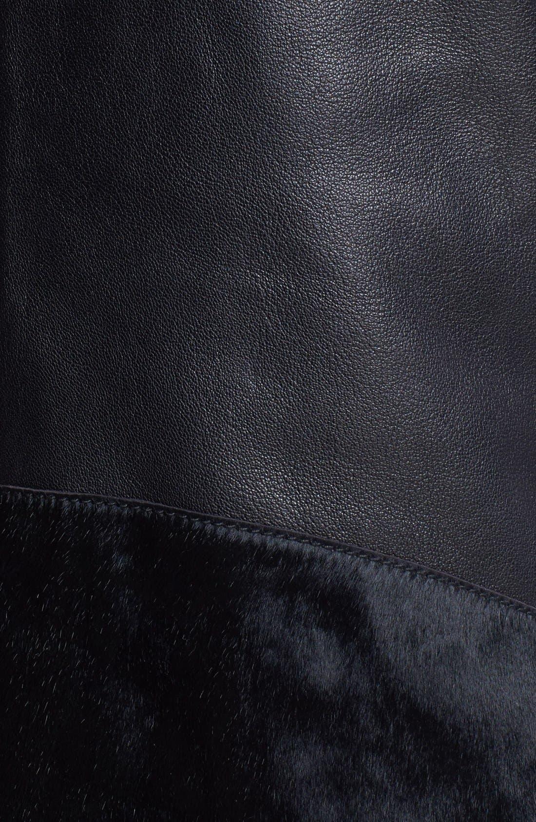 VEDA, Genuine Calf Hair & Leather Vest, Alternate thumbnail 6, color, 001