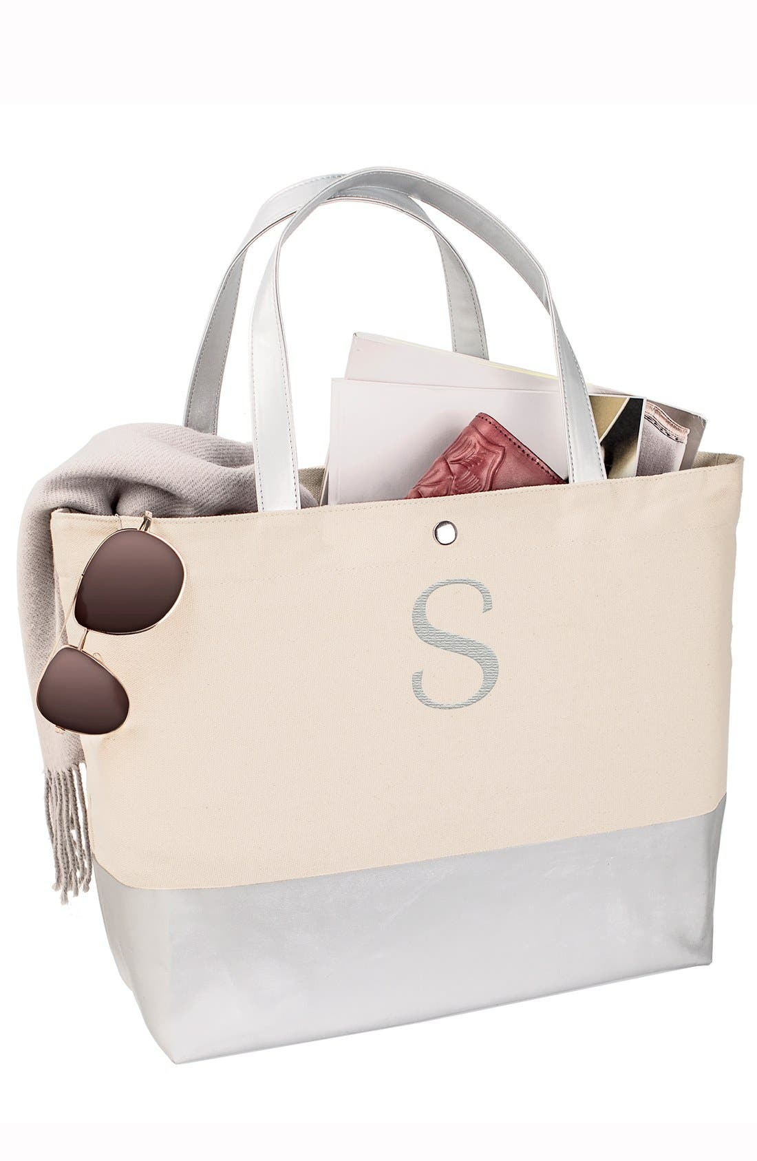 CATHY'S CONCEPTS, Monogram Canvas Tote, Alternate thumbnail 3, color, GOLD