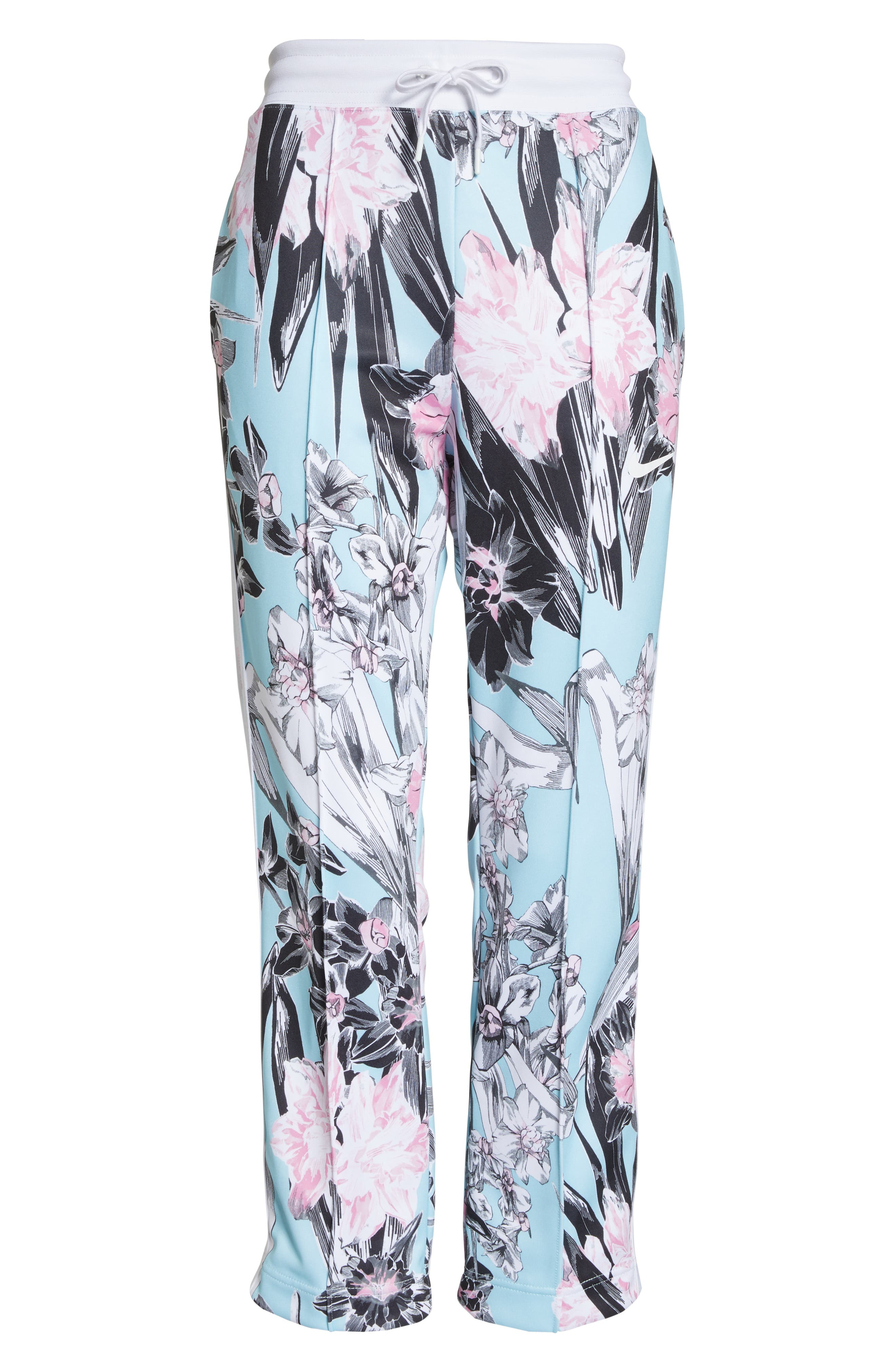 NIKE, Sportswear Floral Print Pants, Alternate thumbnail 8, color, TOPAZ MIST/ WHITE/ WHITE