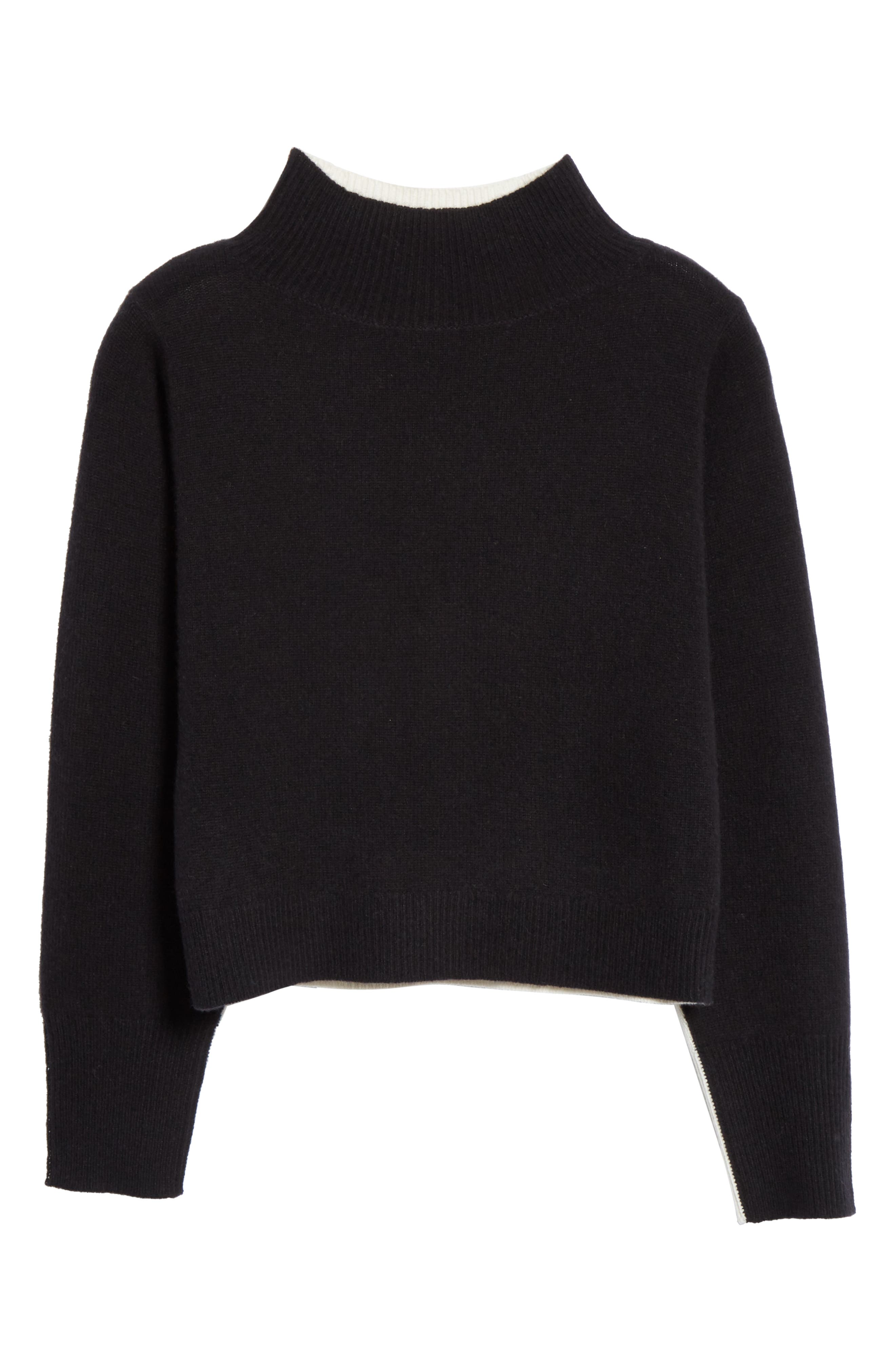NORDSTROM SIGNATURE, Colorblock Cashmere Sweater, Alternate thumbnail 6, color, BLACK- IVORY COMBO