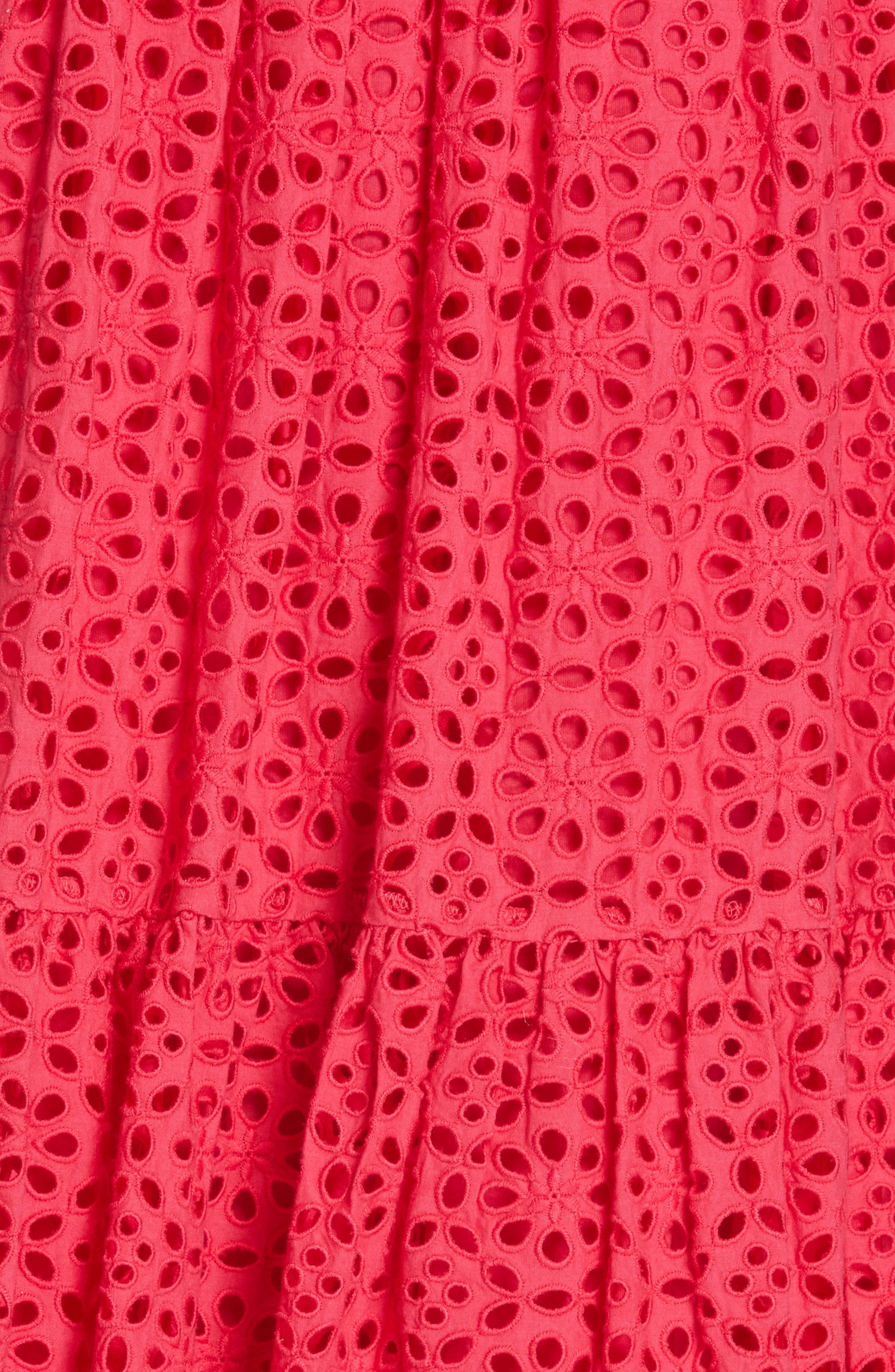 ULLA JOHNSON, Norah Eyelet Dress, Alternate thumbnail 6, color, FUCHSIA