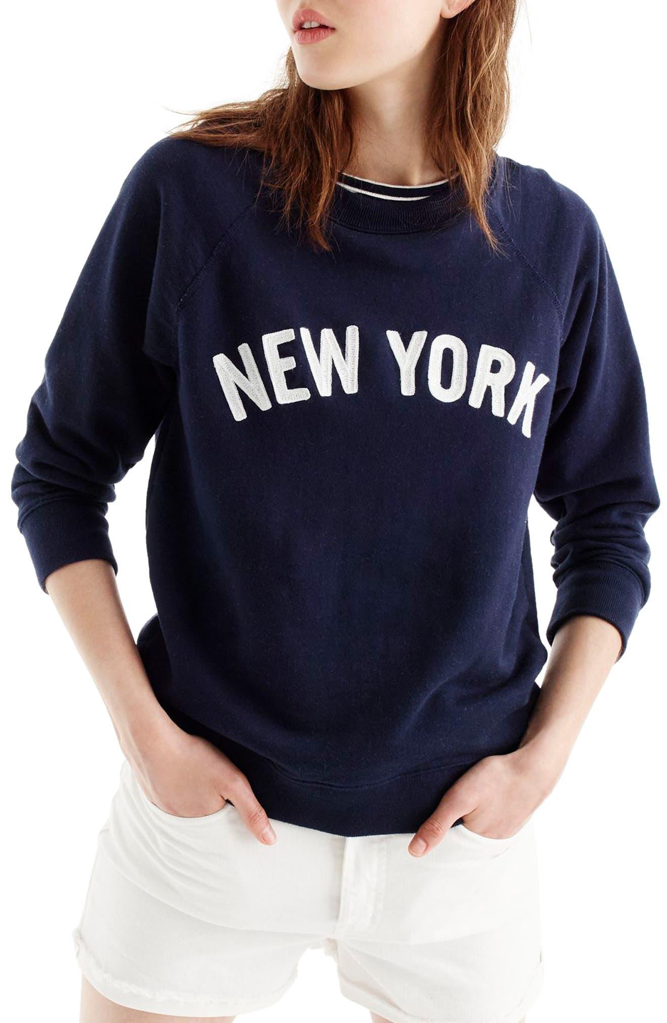J.CREW, New York Sweatshirt, Main thumbnail 1, color, NAVY