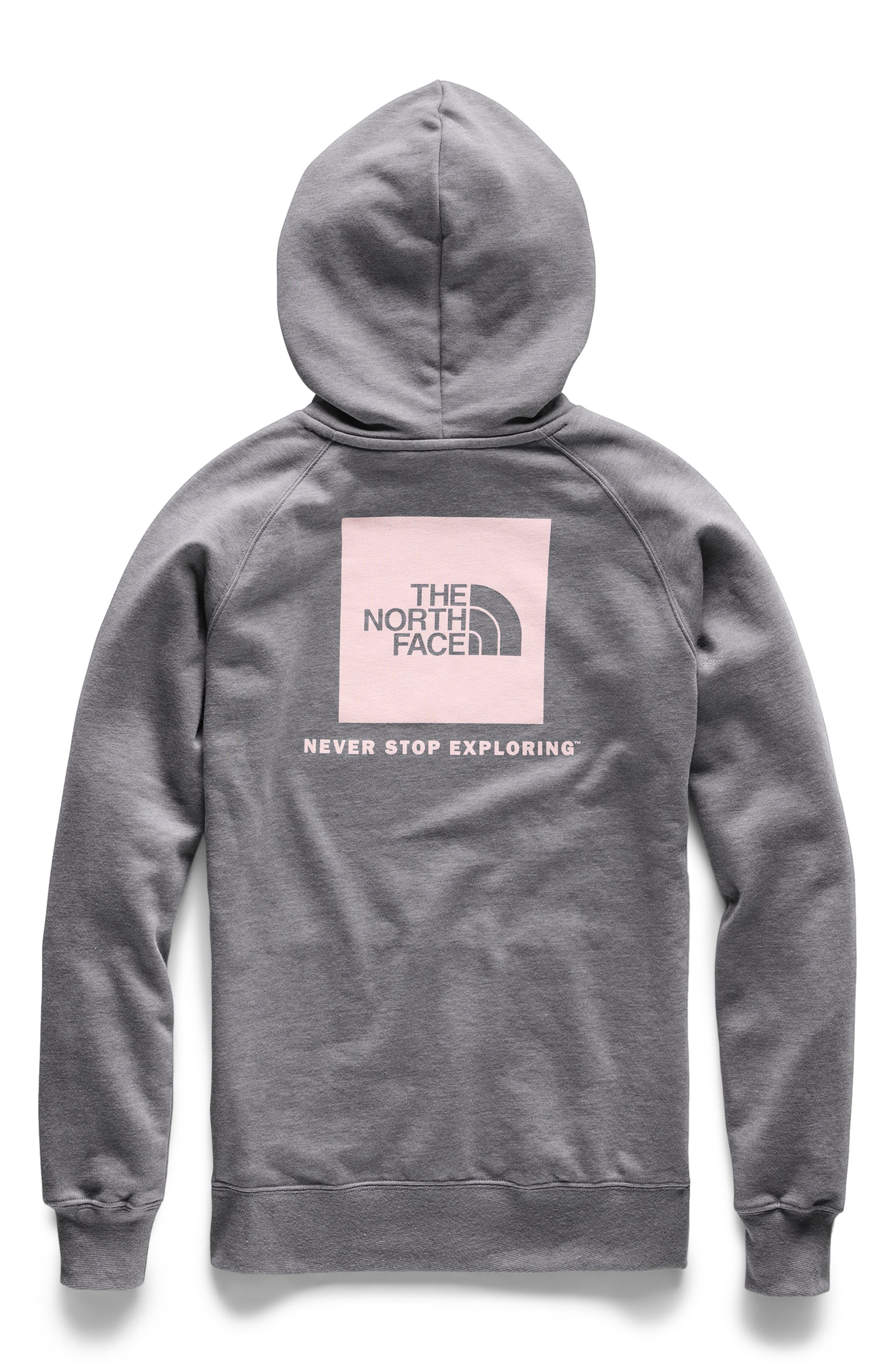THE NORTH FACE, Red Box Hoodie, Alternate thumbnail 2, color, TNF MEDIUM GREY/ PINK SALT