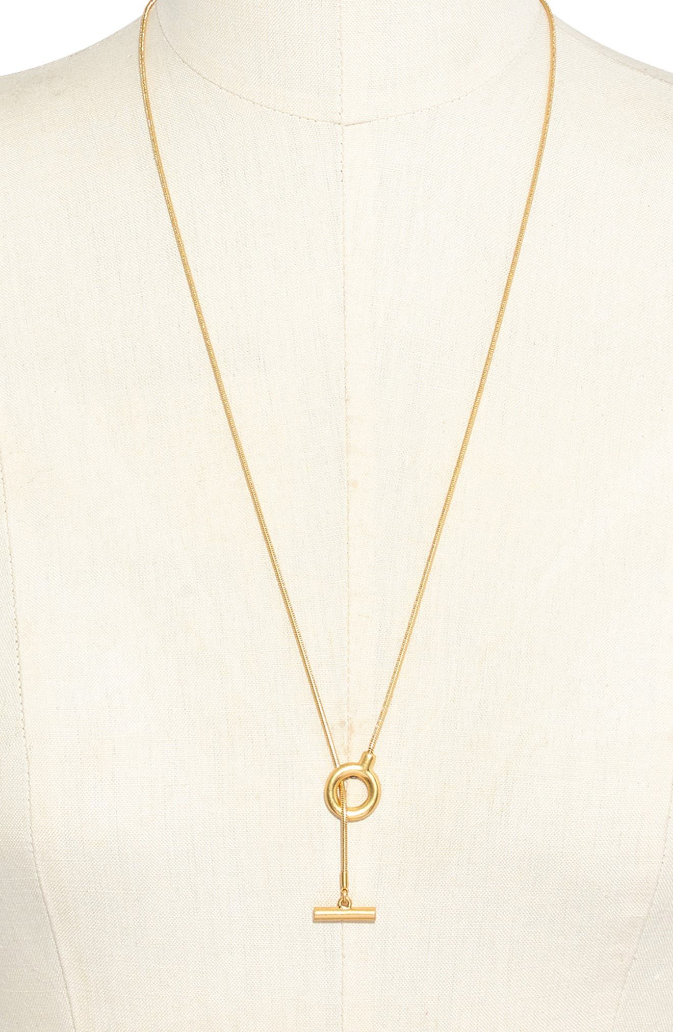 MADEWELL, Toggle Lariat Necklace, Main thumbnail 1, color, VINTAGE GOLD