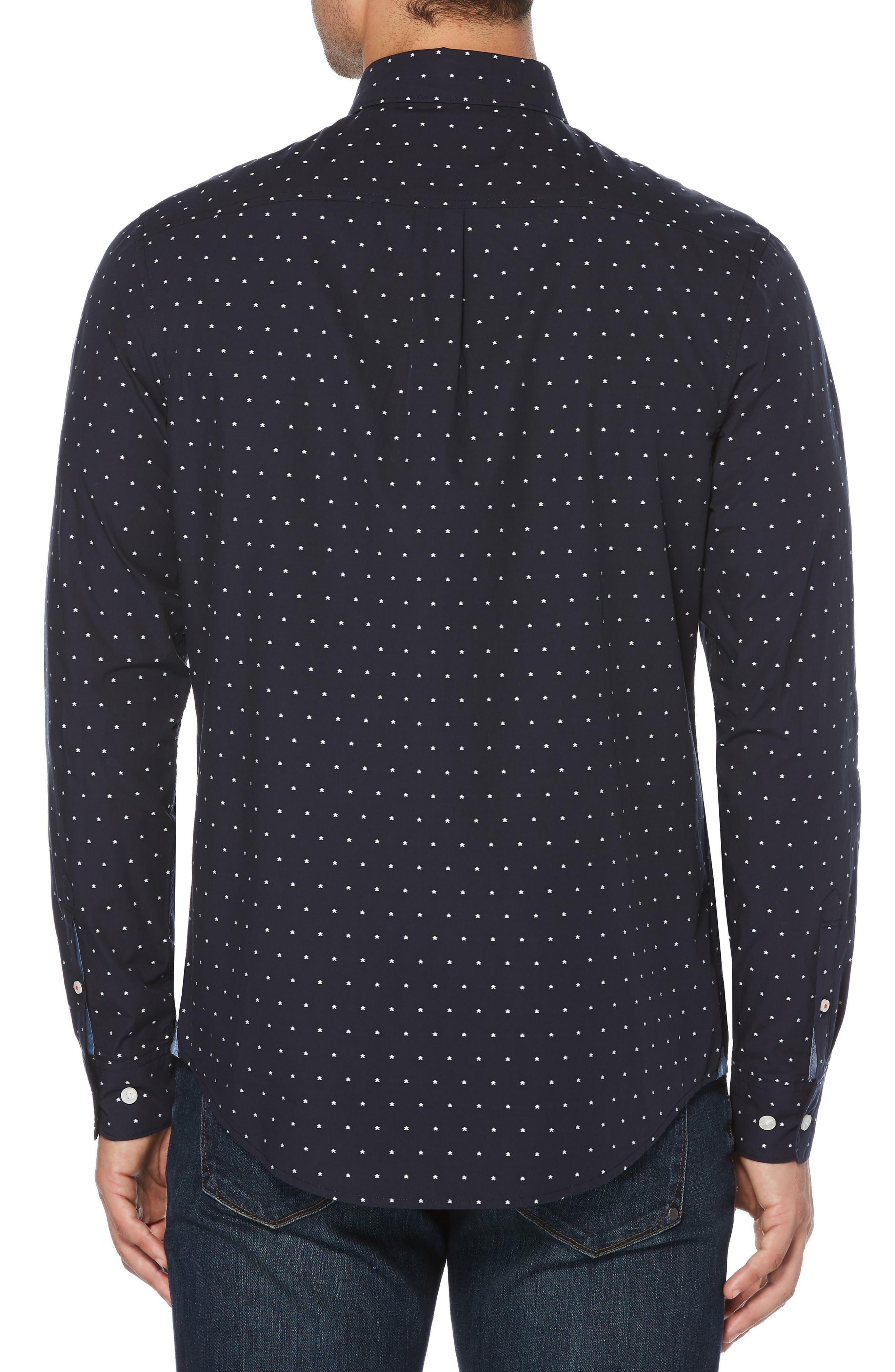 ORIGINAL PENGUIN, Star Dobby Sport Shirt, Alternate thumbnail 3, color, DARK SAPPHIRE