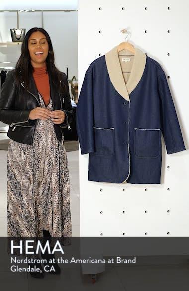 Fleece Trim Denim Cocoon Coat, sales video thumbnail