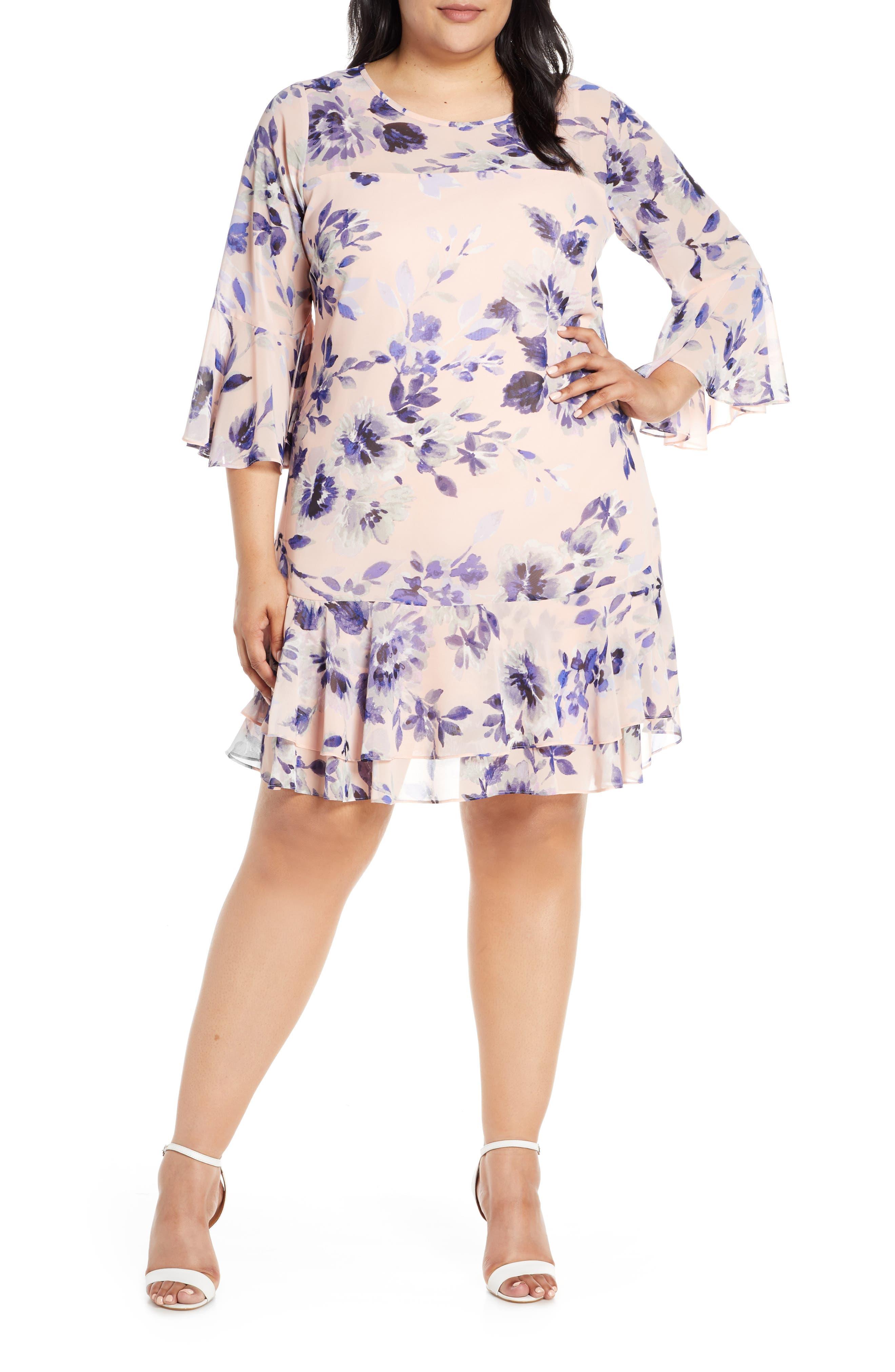 Where to Buy Vintage 1920s Dresses Plus Size Womens Eliza J Floral Chiffon Flounce Dress $178.00 AT vintagedancer.com