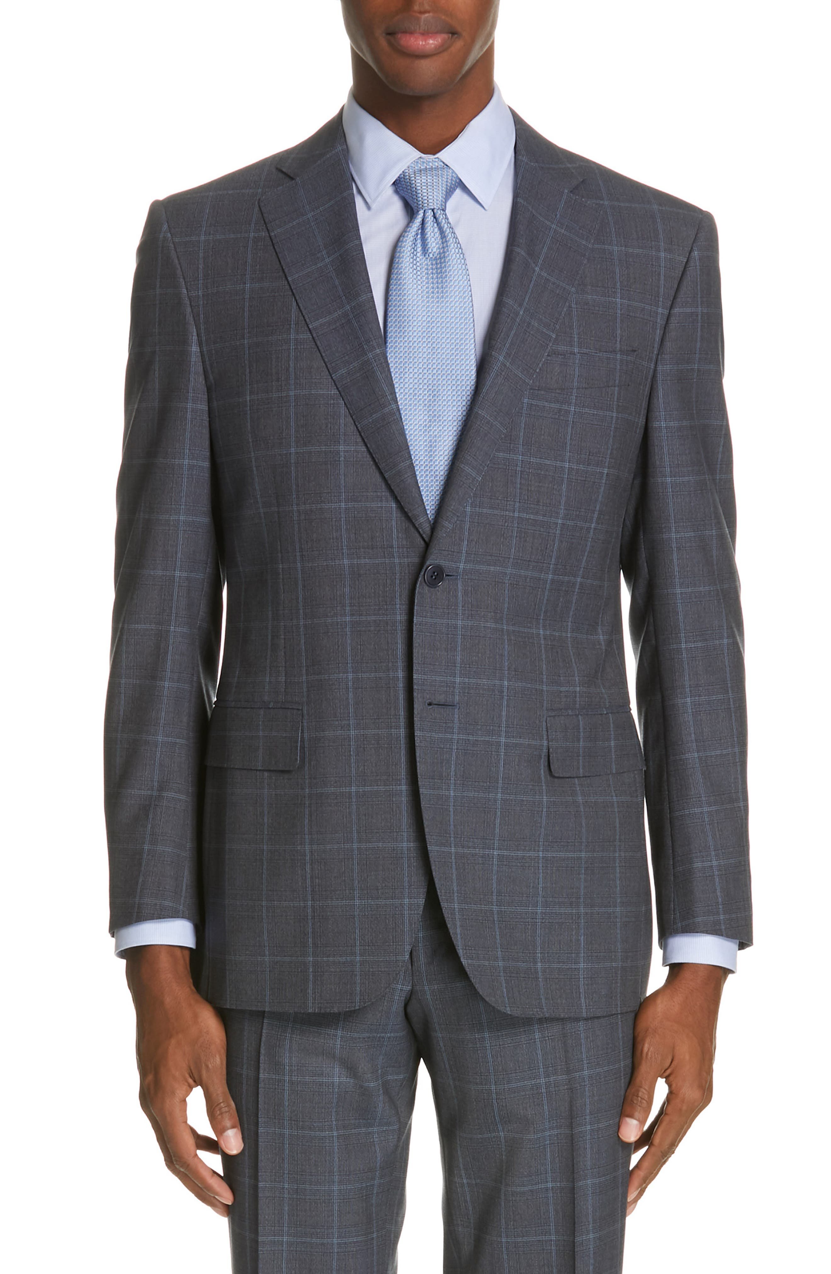CANALI, Siena Soft Classic Fit Plaid Wool Suit, Alternate thumbnail 5, color, CHARCOAL