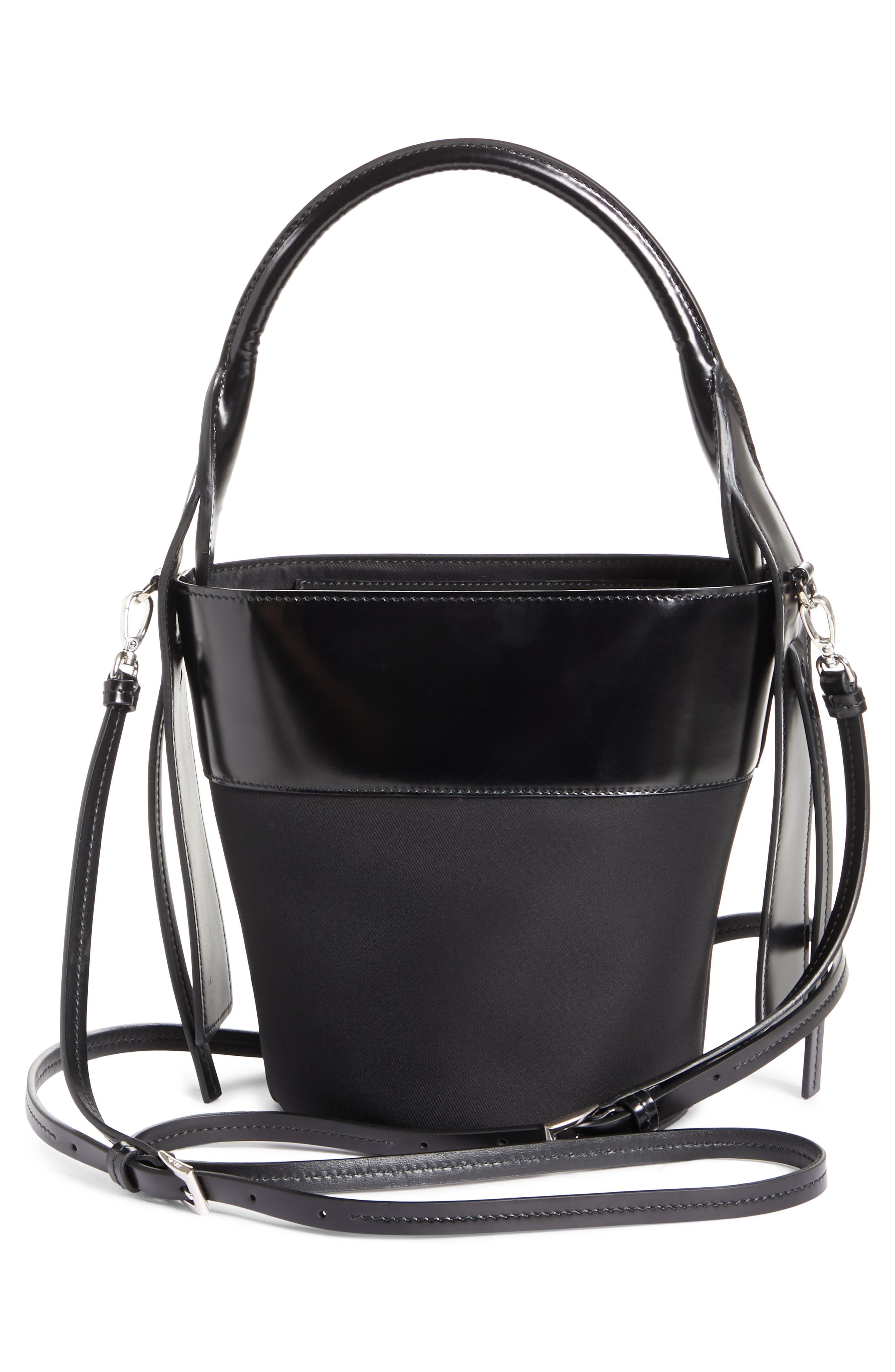 PRADA, Ouverture Tessuto Bucket Bag, Alternate thumbnail 4, color, NERO/ BIANCO