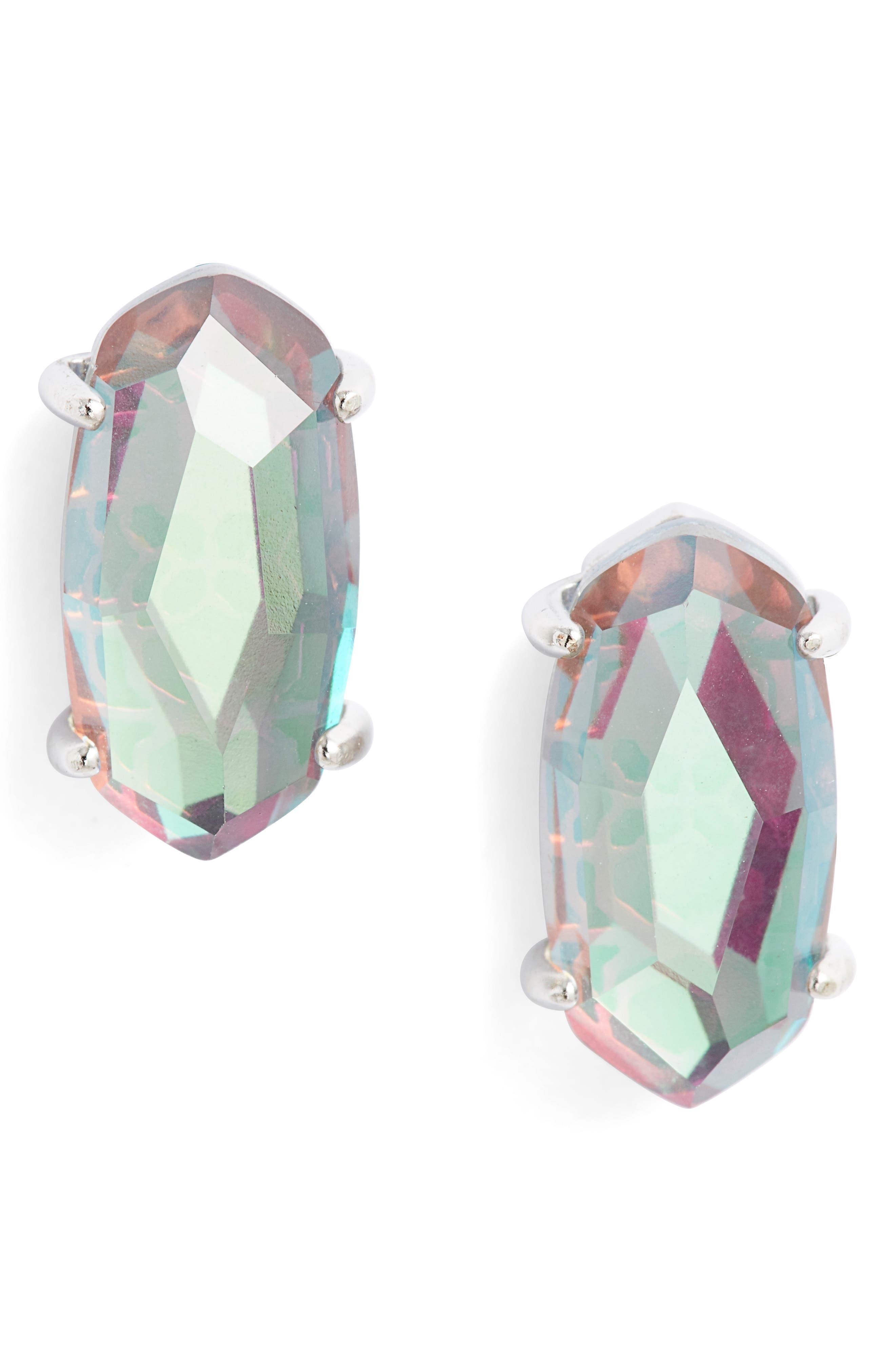 KENDRA SCOTT, Betty Stud Earrings, Main thumbnail 1, color, GRAY DICHROIC GLASS/ SILVER