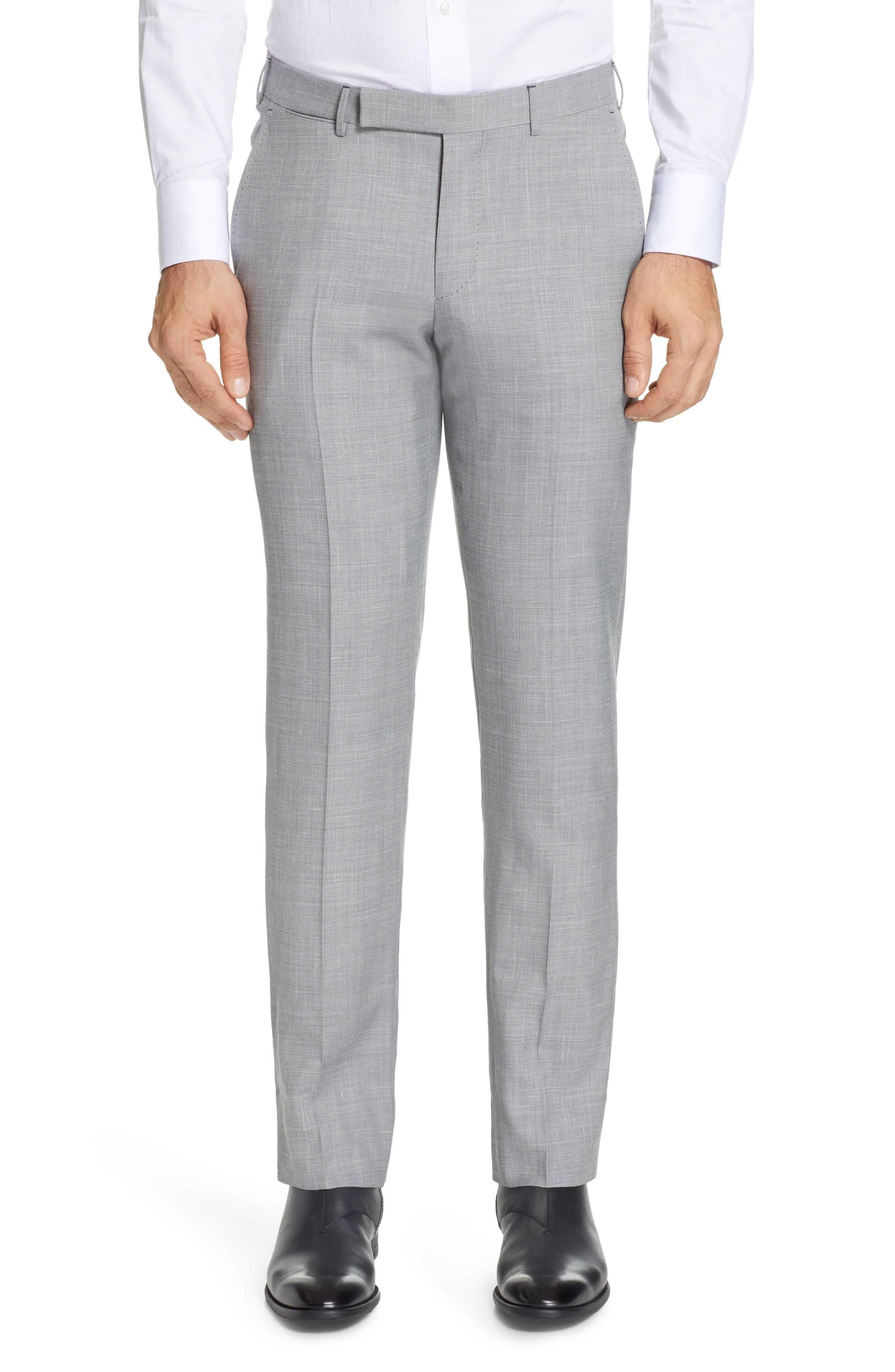 ERMENEGILDO ZEGNA, Trofeo Flat Front Solid Wool Blend Trousers, Main thumbnail 1, color, LIGHT GREY