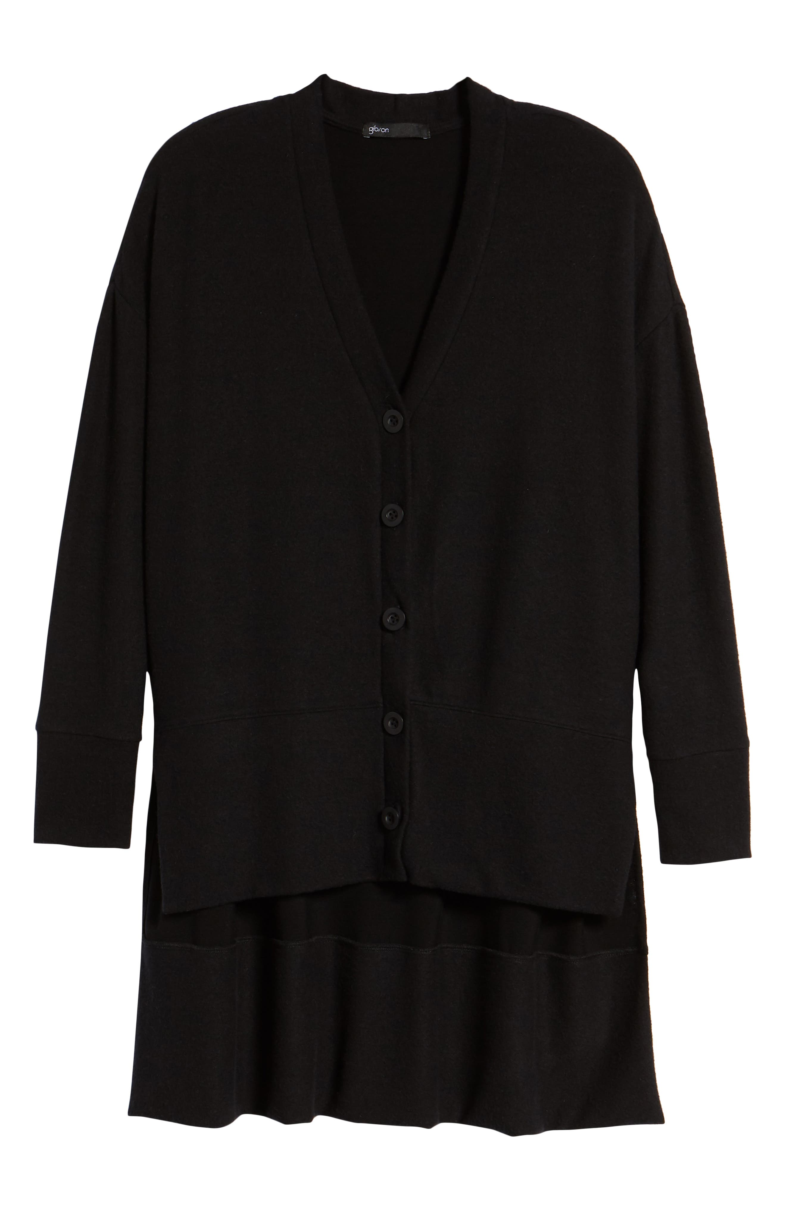 GIBSON, High/Low Easy Cardigan, Alternate thumbnail 7, color, BLACK
