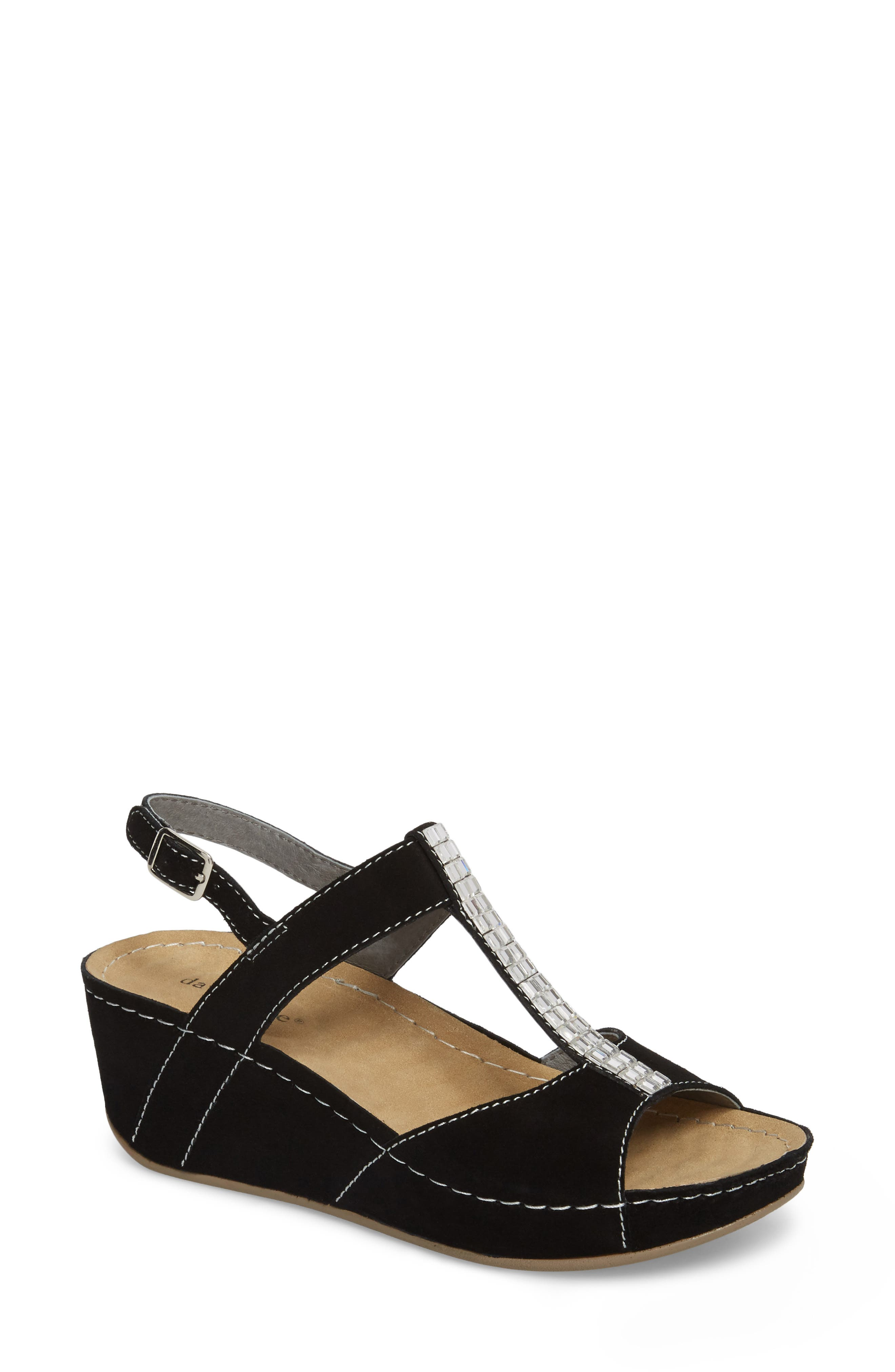 DAVID TATE, Bubbly Embellished T-Strap Wedge Sandal, Main thumbnail 1, color, BLACK SUEDE