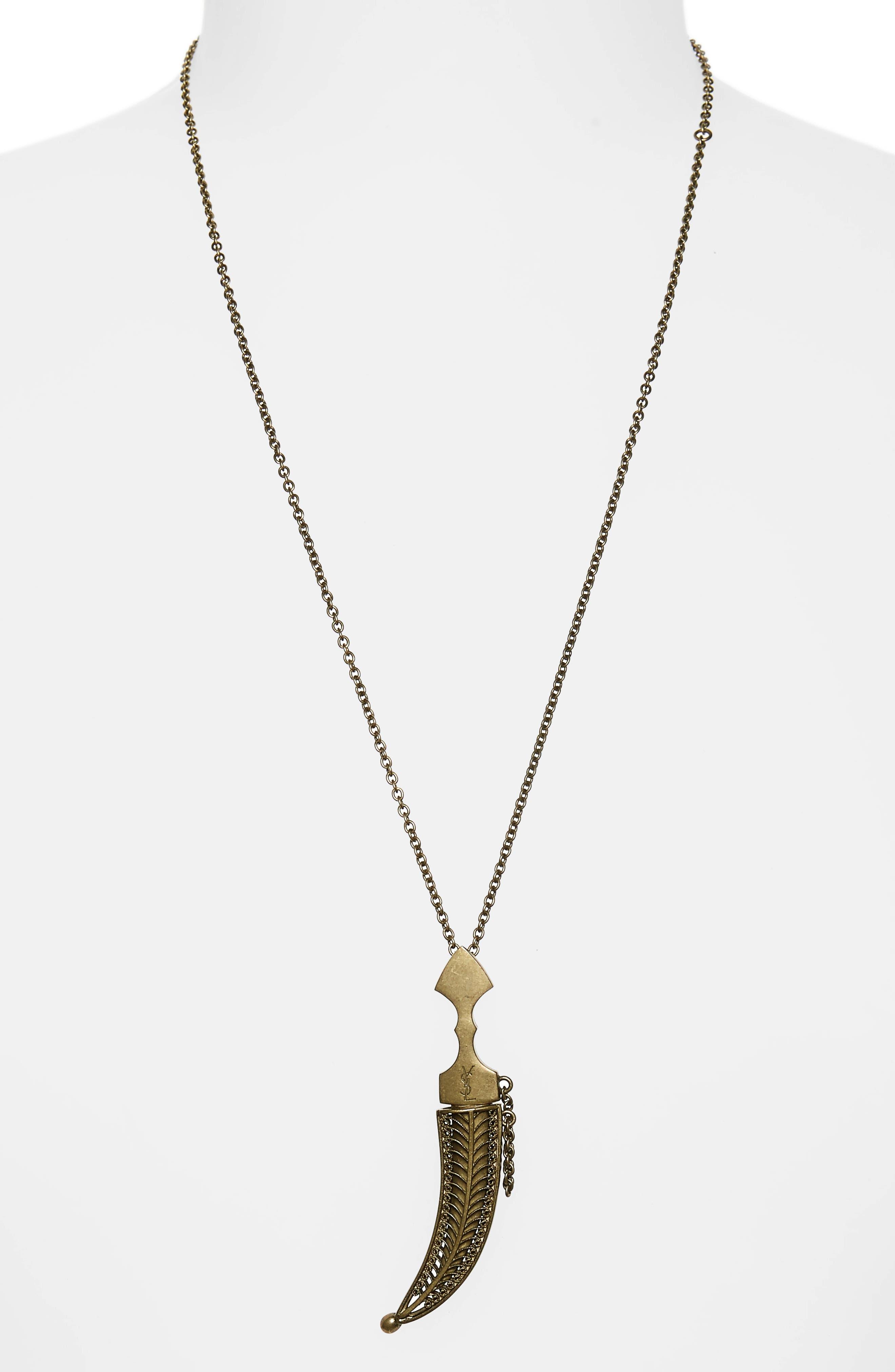 SAINT LAURENT, Saber Charm Pendant Necklace, Alternate thumbnail 2, color, BRASS
