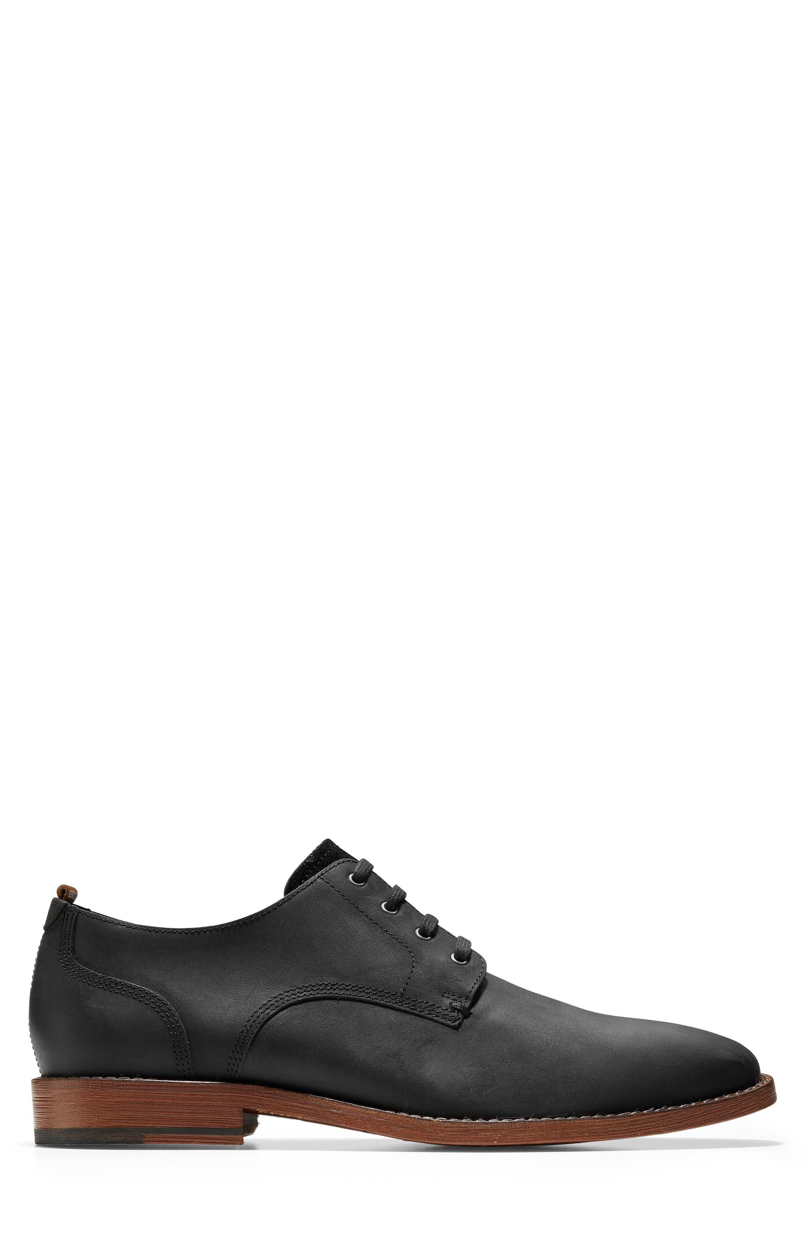 COLE HAAN, Feathercraft Grand Derby, Alternate thumbnail 3, color, BLACK LEATHER