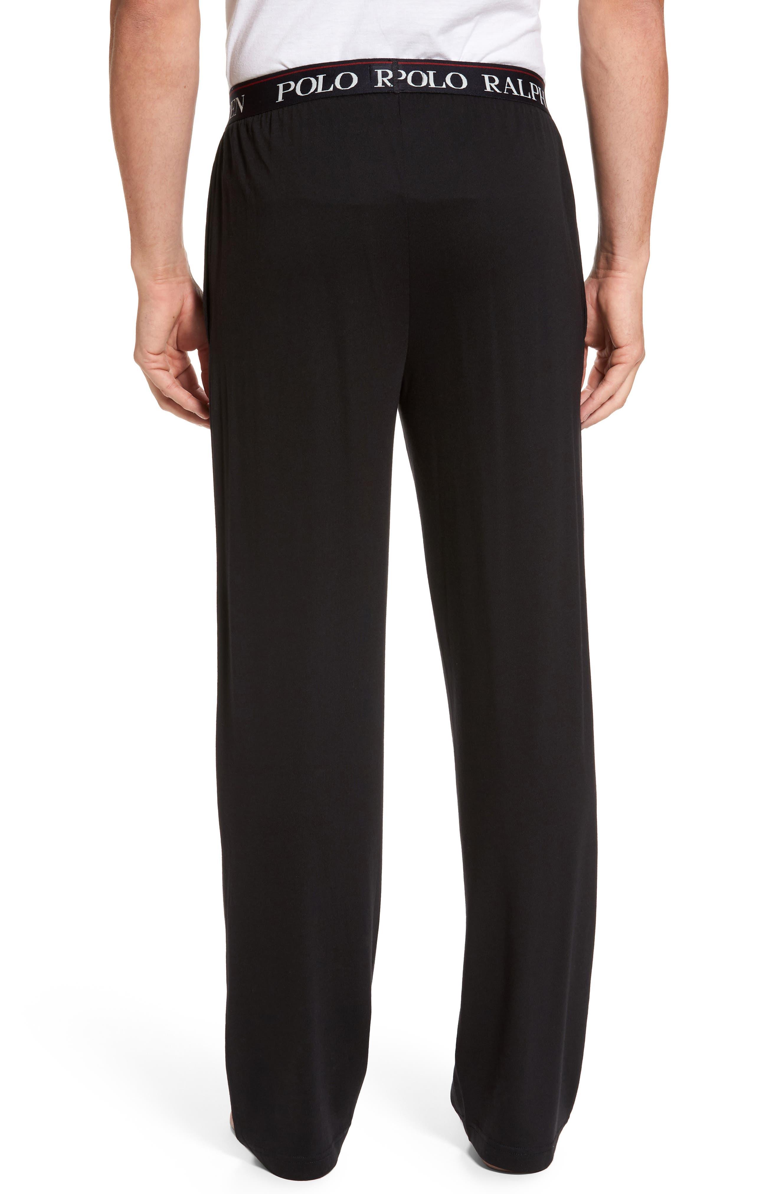 POLO RALPH LAUREN, Cotton & Modal Lounge Pants, Alternate thumbnail 2, color, POLO BLACK
