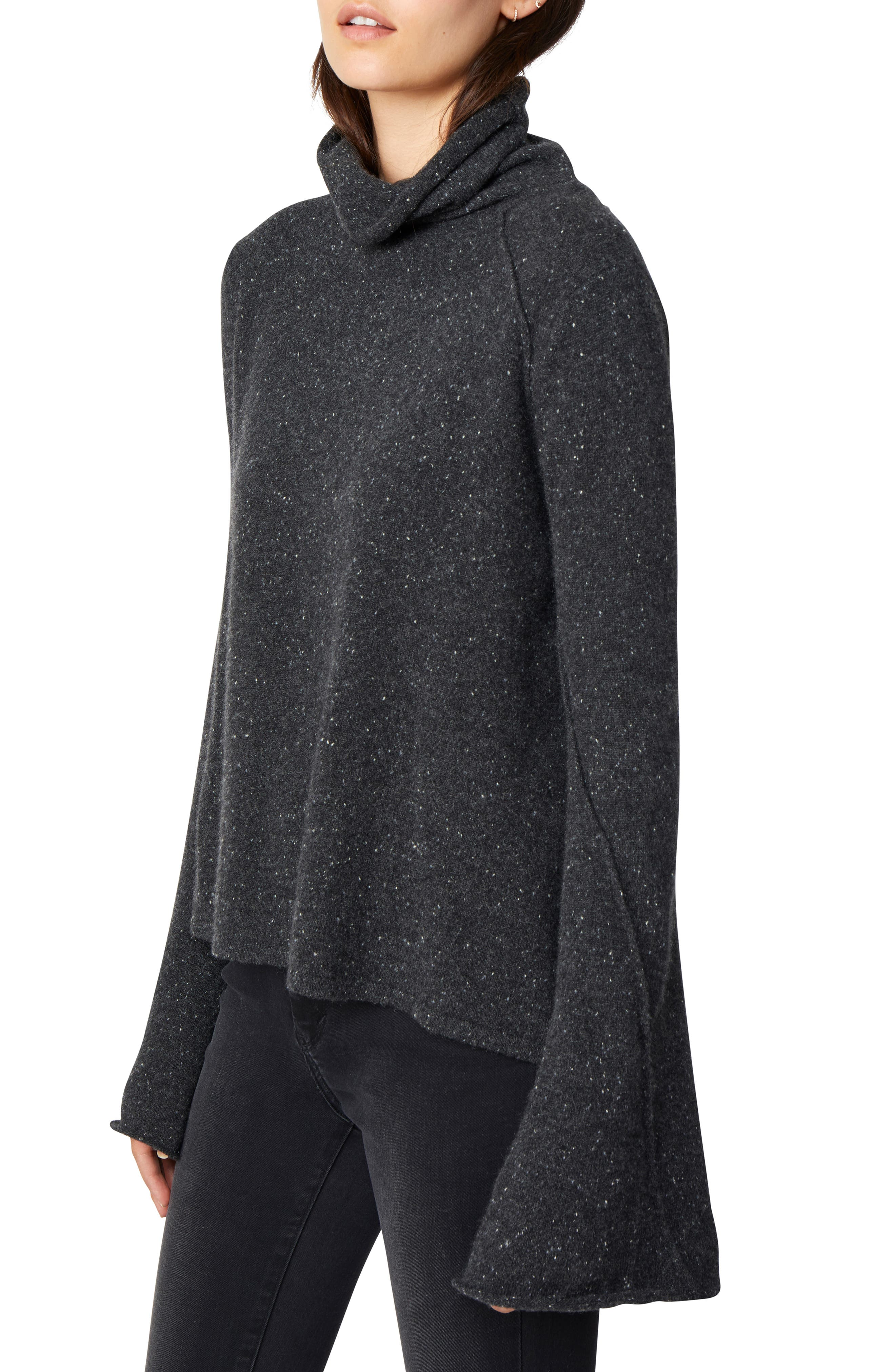 HABITUAL, Adalyn Oversize Bell Sleeve Cashmere Sweater, Alternate thumbnail 3, color, 001
