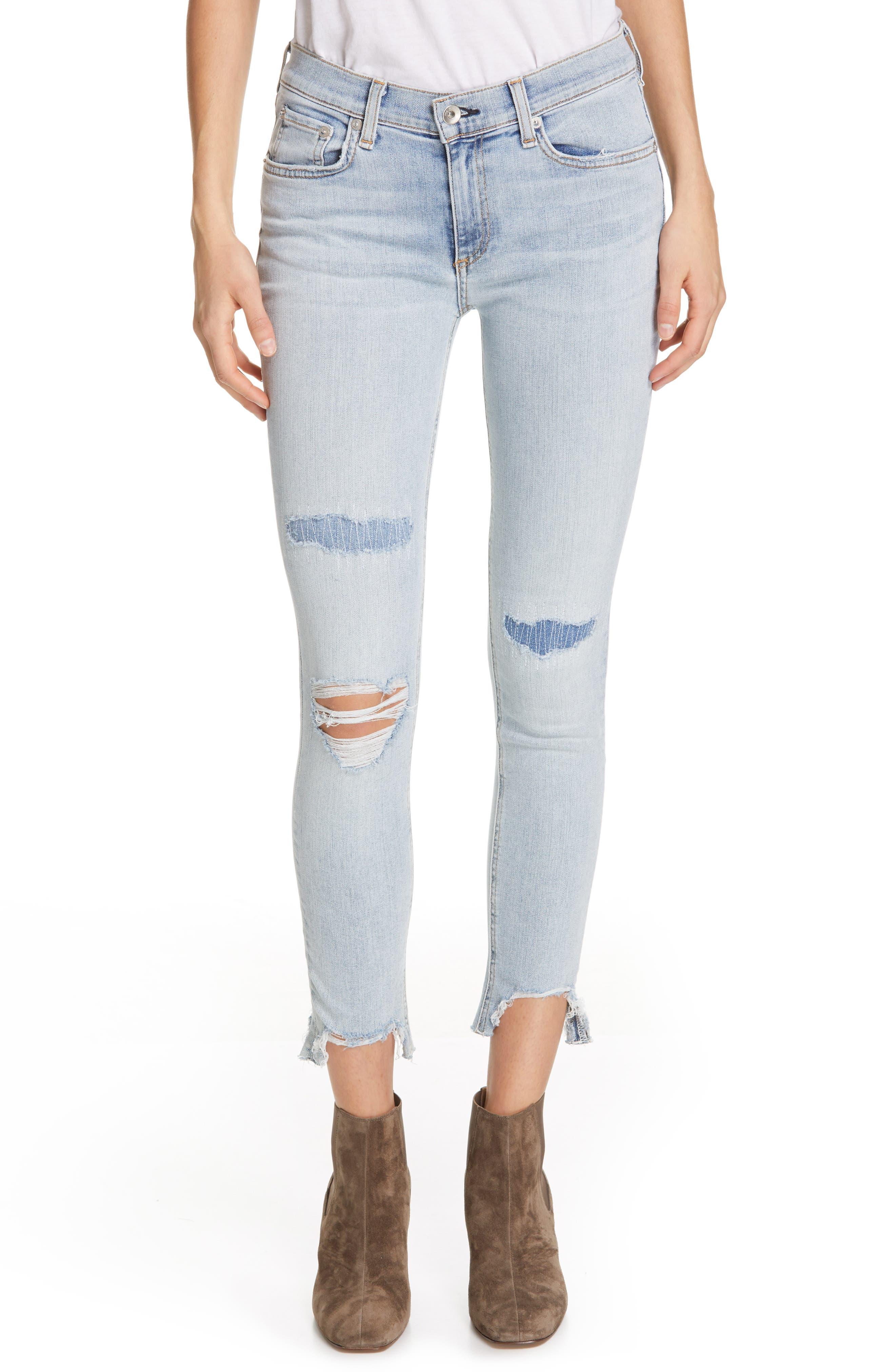 RAG & BONE, JEAN Ripped Ankle Skinny Jeans, Main thumbnail 1, color, 450