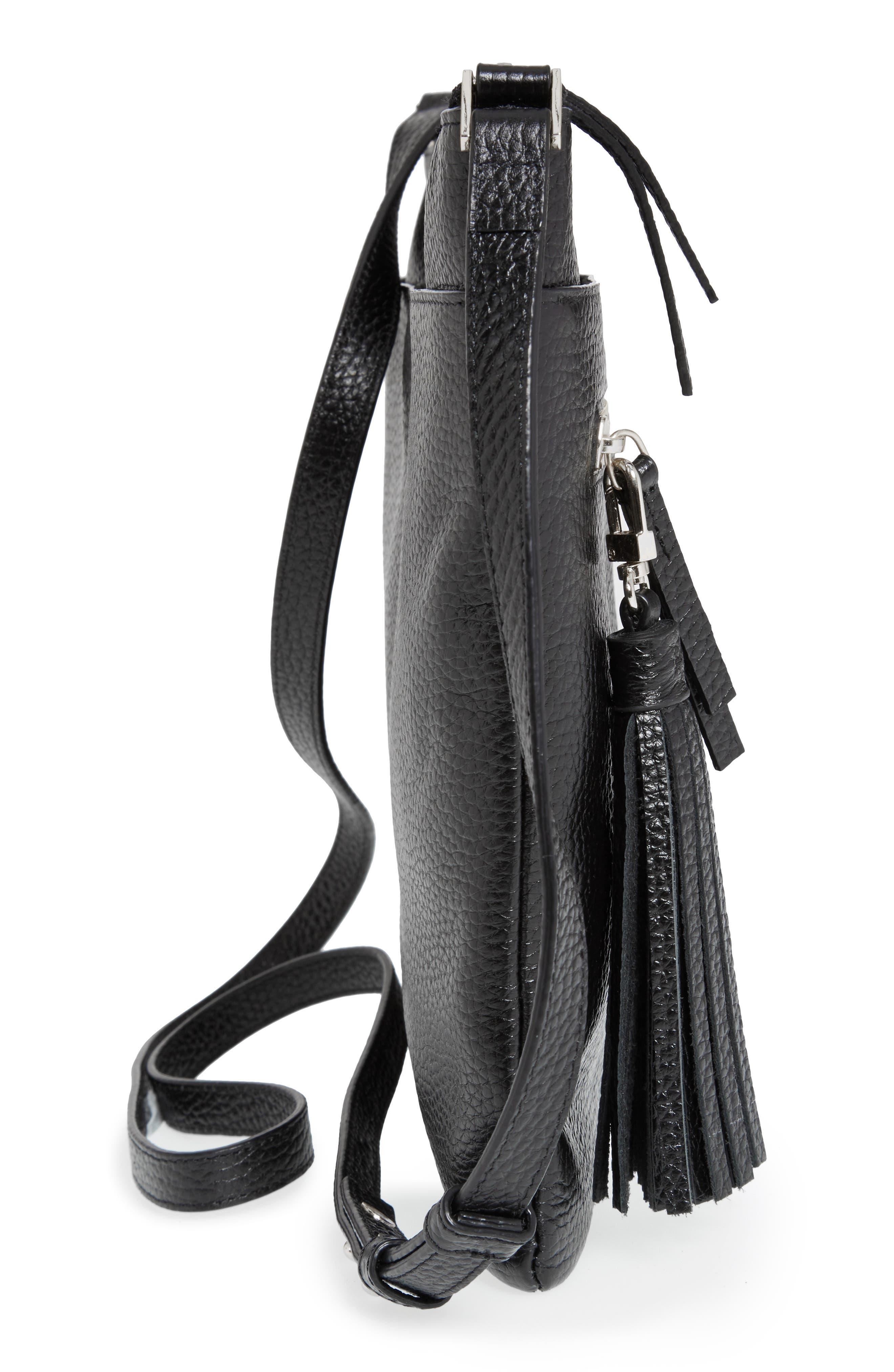 HALOGEN<SUP>®</SUP>, Tasseled Leather Crossbody Bag, Alternate thumbnail 3, color, 001