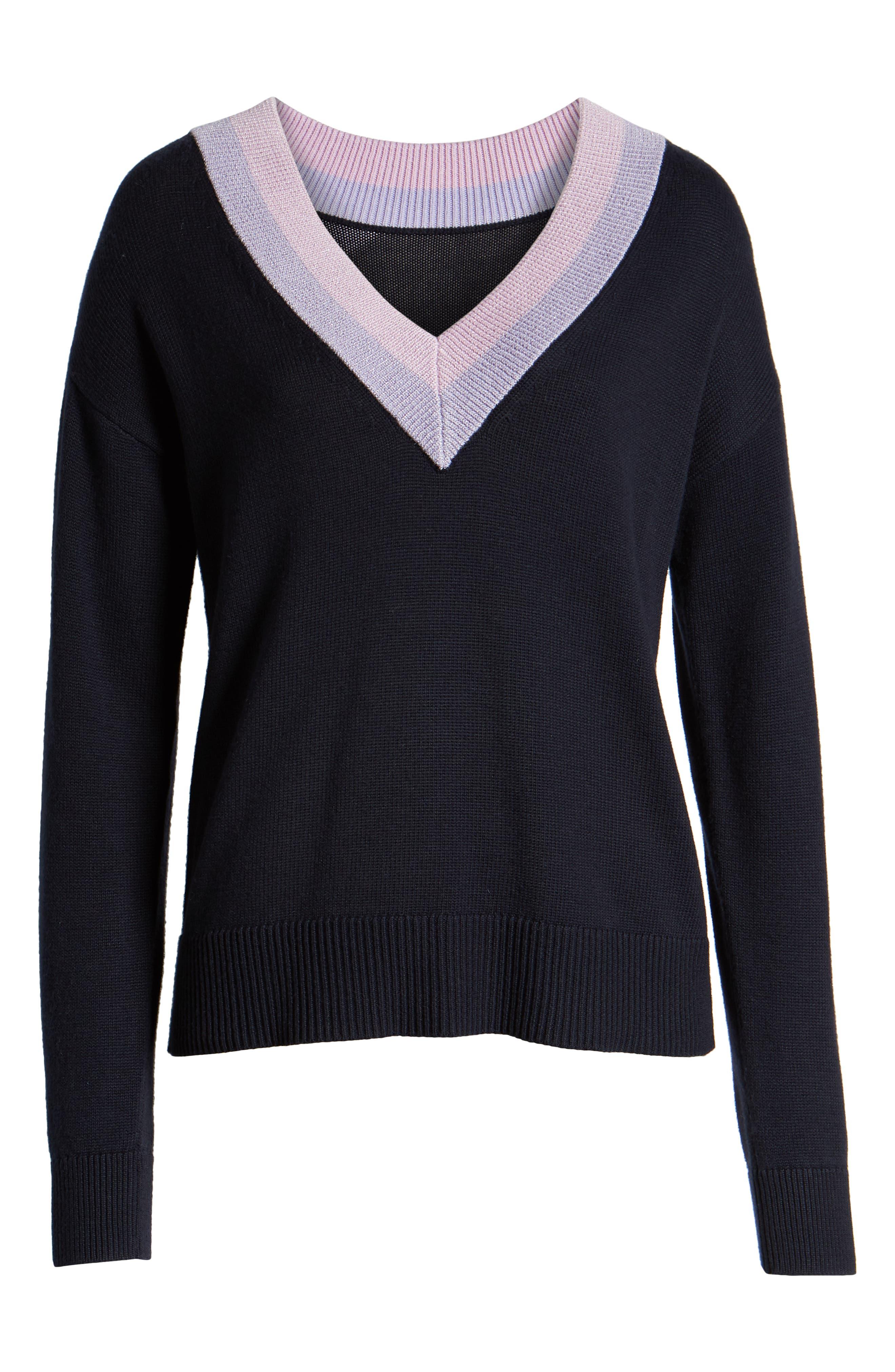 HALOGEN<SUP>®</SUP>, Shimmer V-Neck Sweater, Alternate thumbnail 6, color, NAVY NIGHT