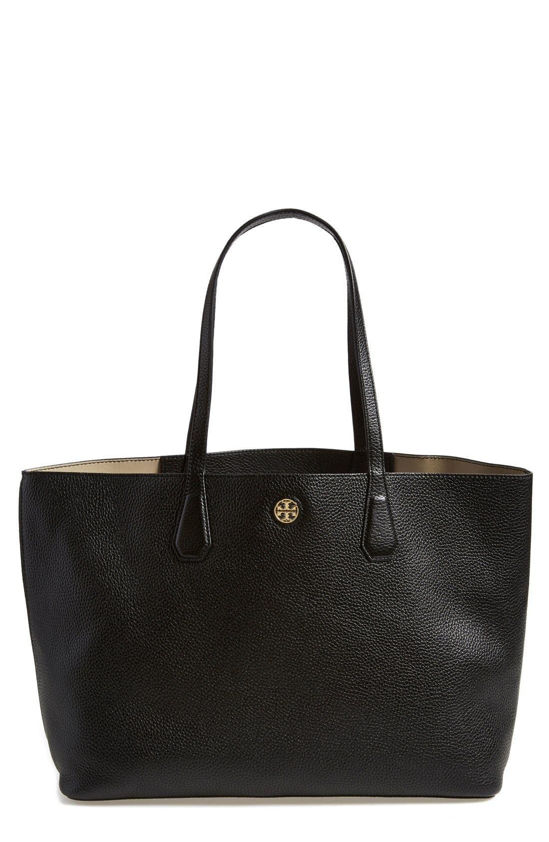 TORY BURCH, 'Perry' Leather Tote, Main thumbnail 1, color, 001