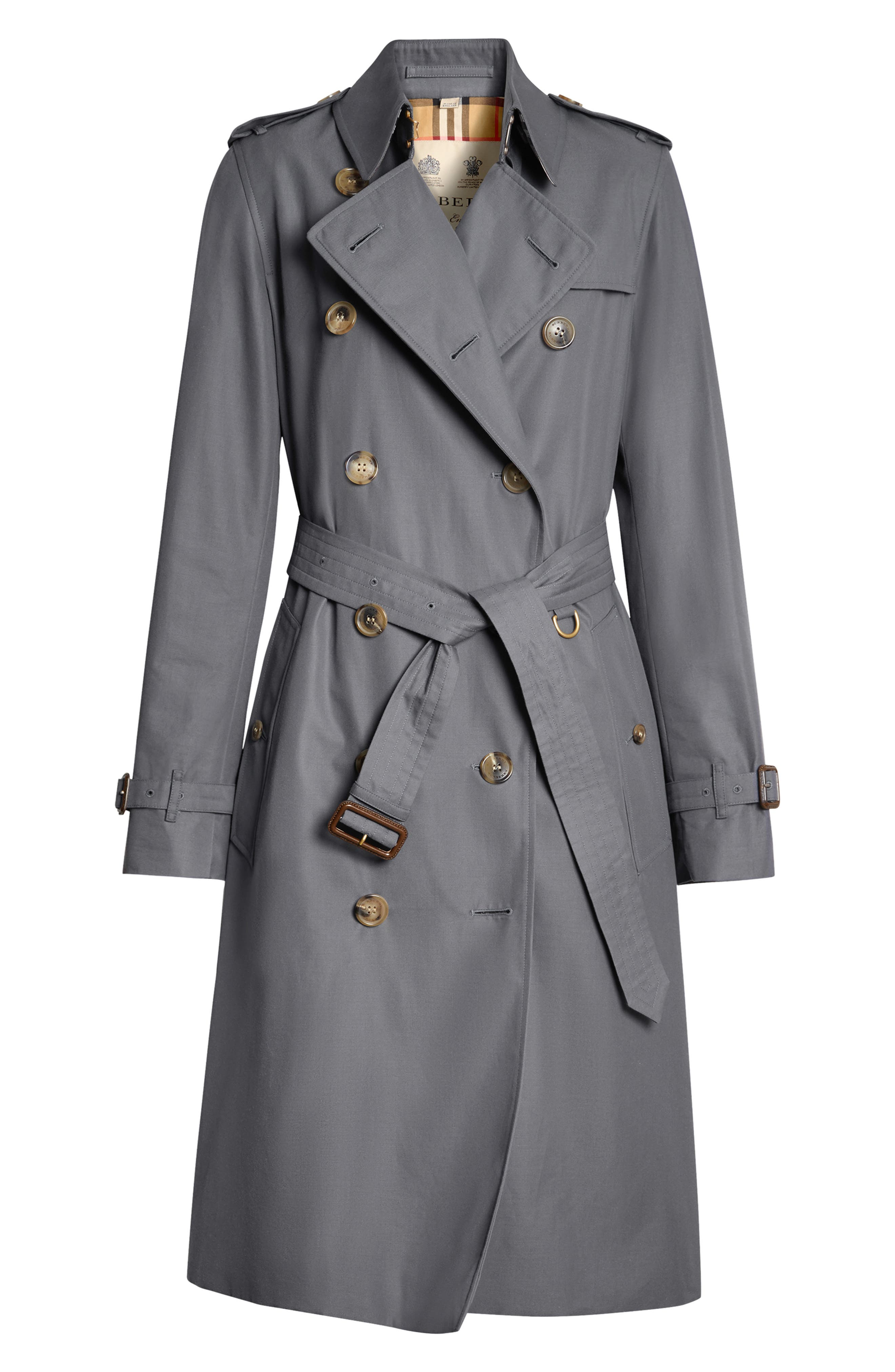 BURBERRY, Kensington Long Heritage Trench Coat, Alternate thumbnail 4, color, MID GREY
