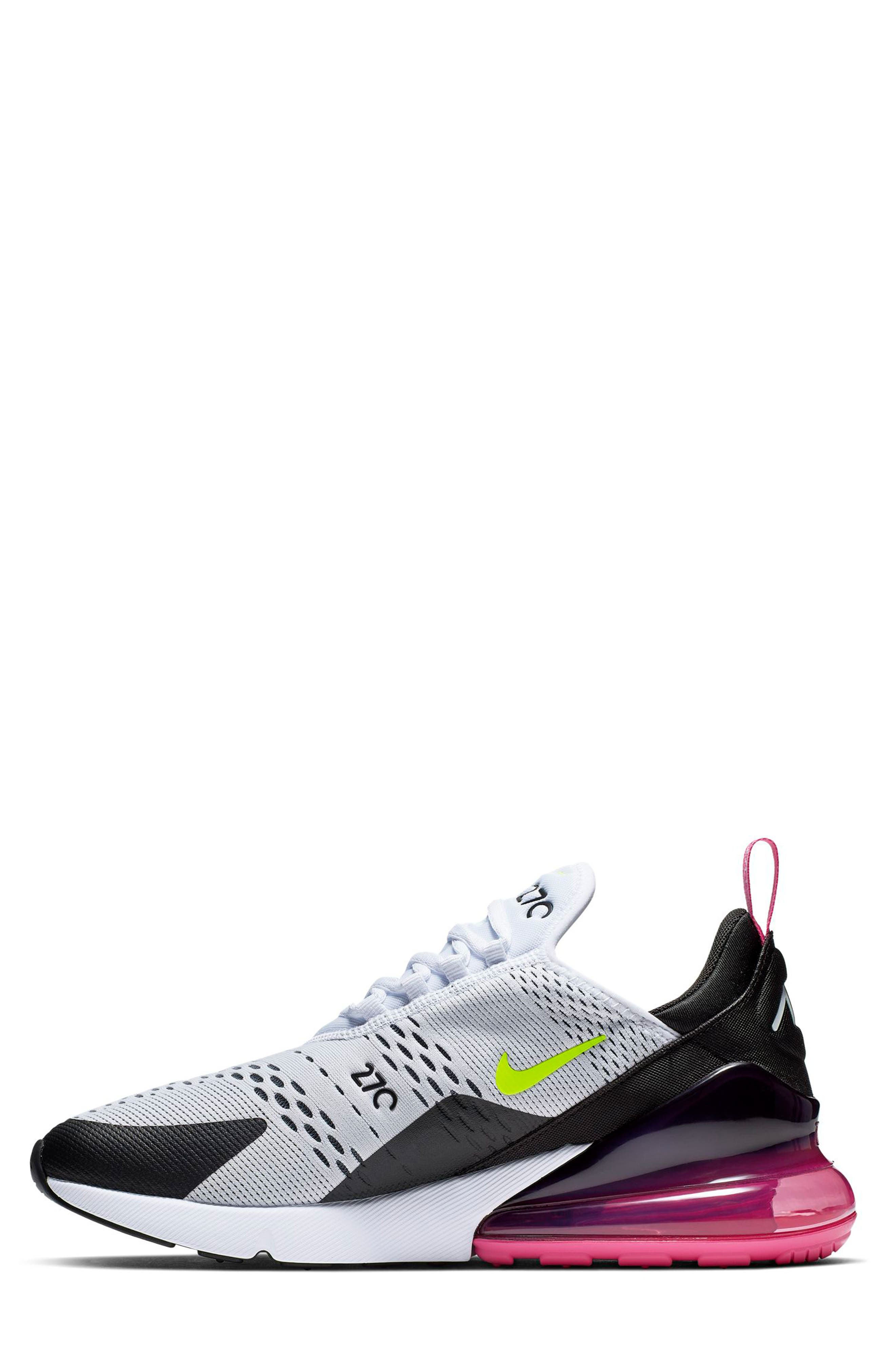NIKE, Air Max 270 Sneaker, Alternate thumbnail 8, color, WHITE/ VOLT/ BLACK/ FUCHSIA