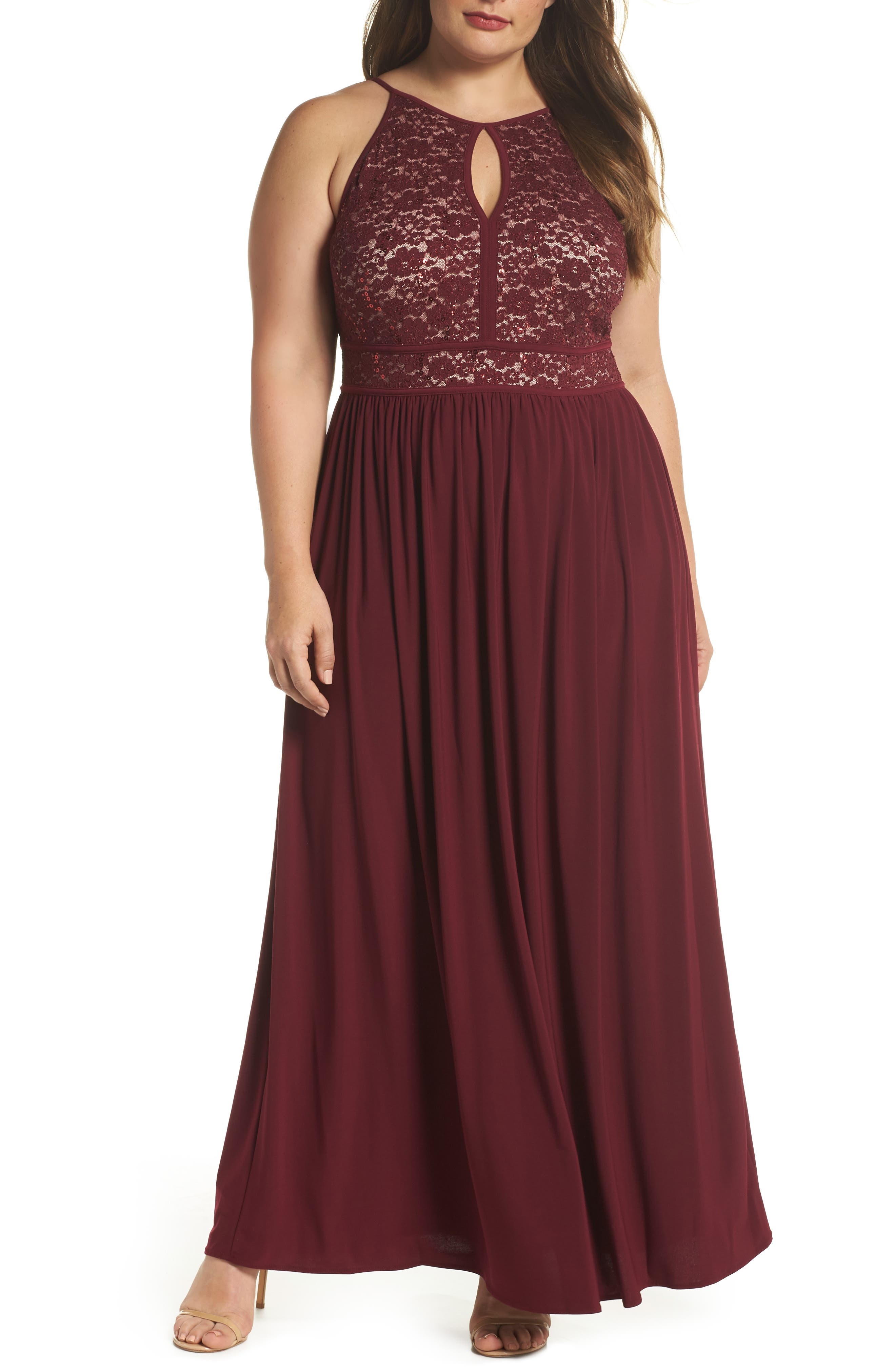MORGAN & CO., Lace Pleated Gown, Main thumbnail 1, color, MERLOT