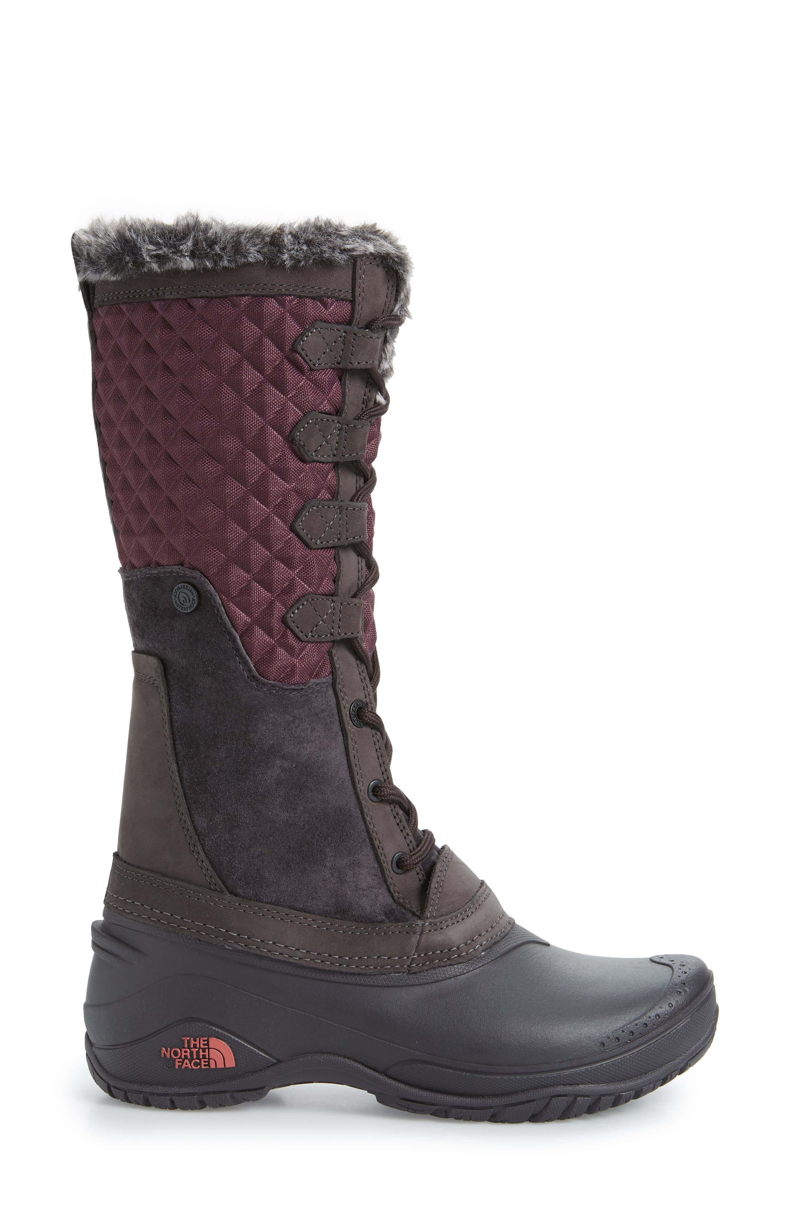 THE NORTH FACE, Shellista III Tall Waterproof Insulated Winter Boot, Alternate thumbnail 3, color, FIG/ WEATHERED BLACK