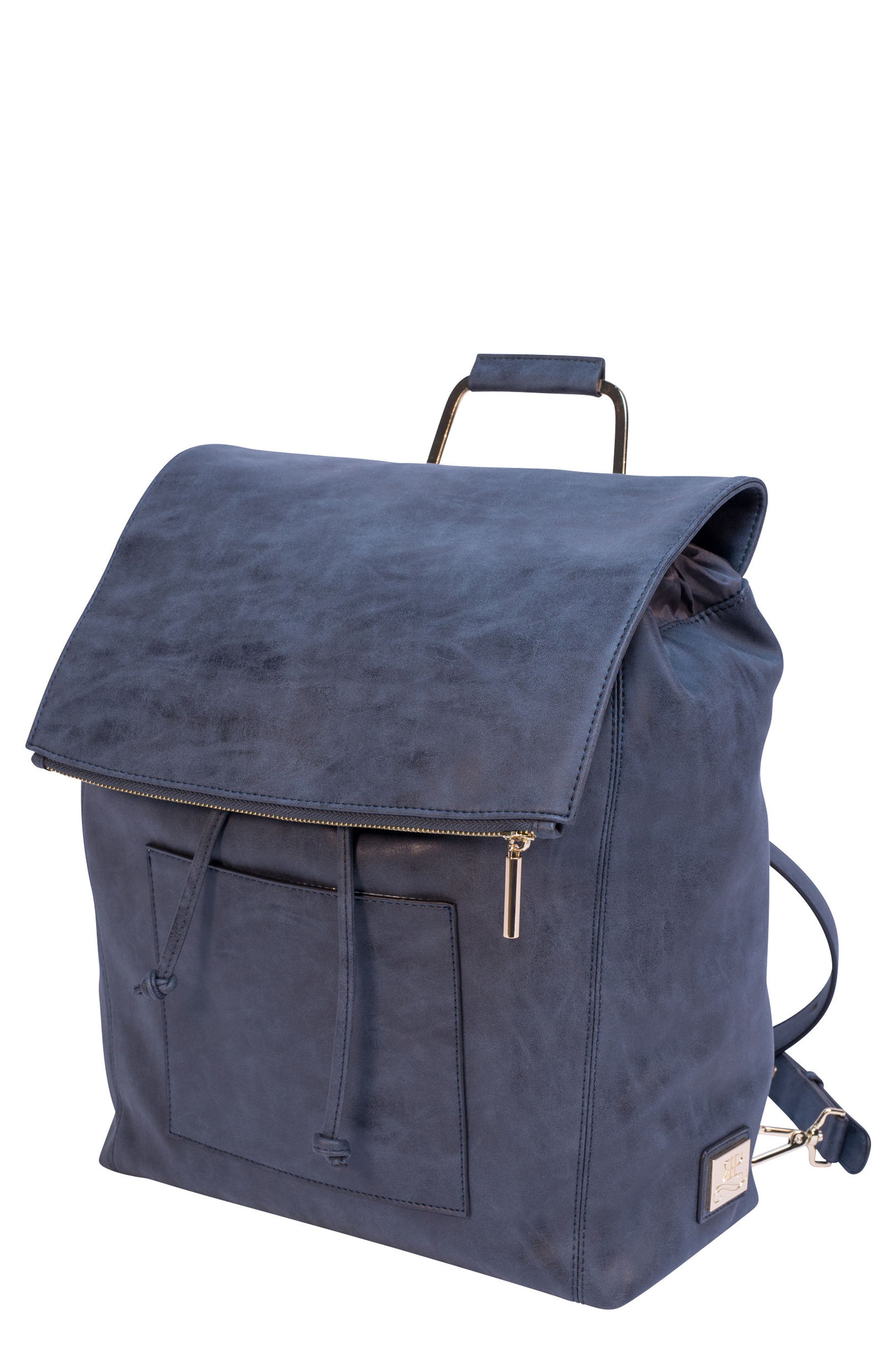 ROSIE POPE, Highbury Hill Diaper Backpack, Main thumbnail 1, color, DUSTY NAVY