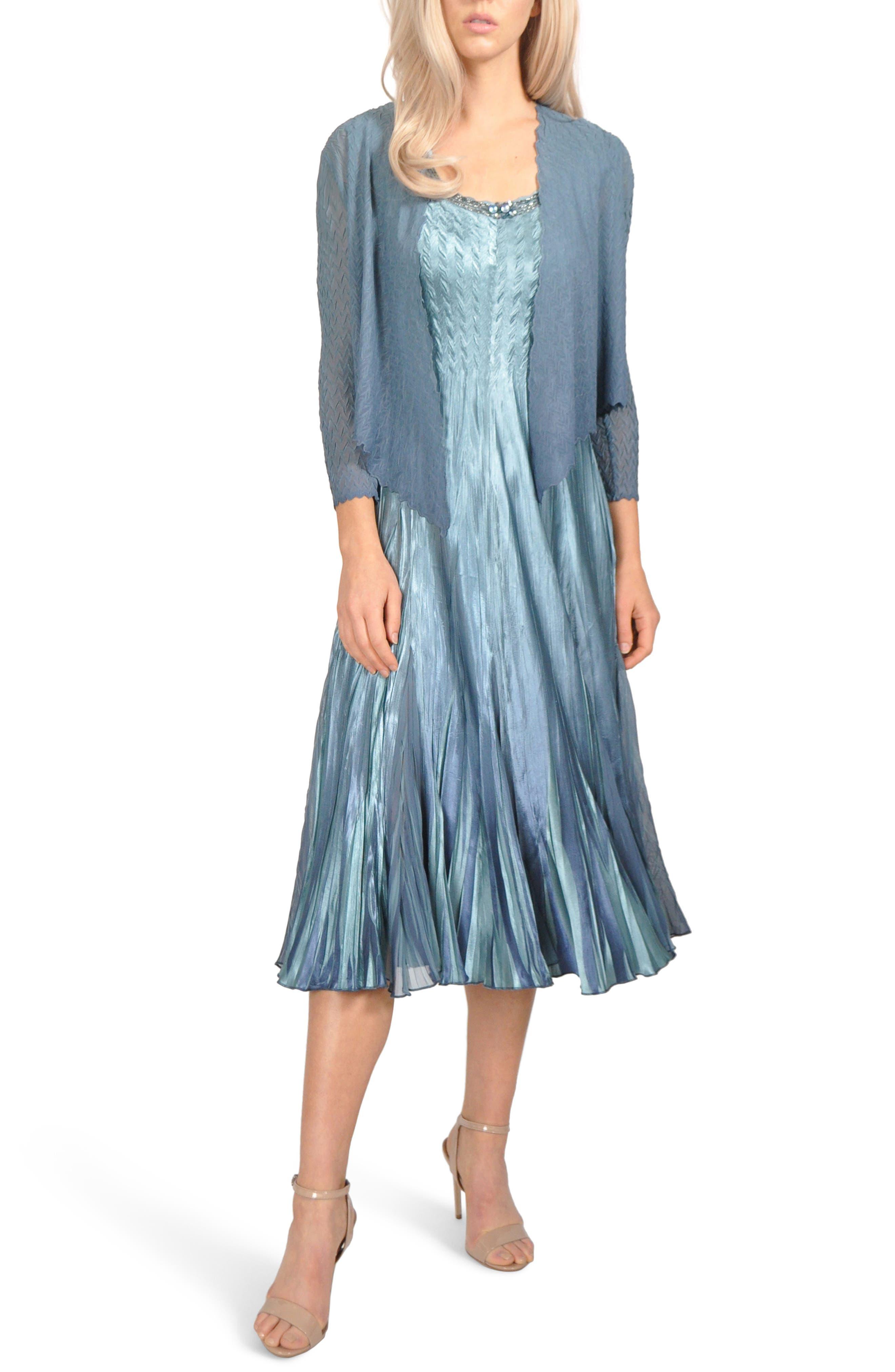 KOMAROV, Embellished Pleat Mixed Media Dress with Jacket, Main thumbnail 1, color, 405