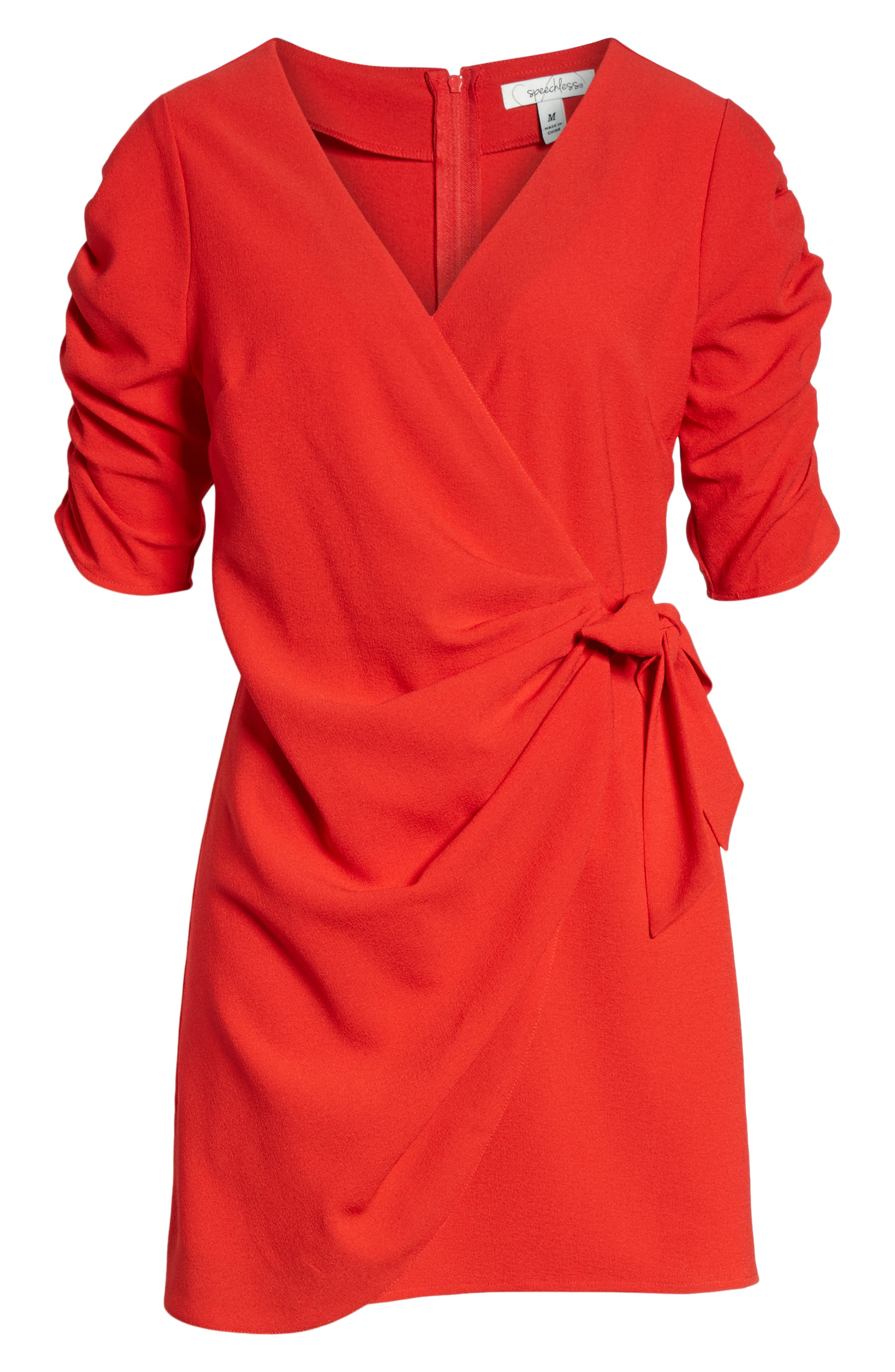 SPEECHLESS, Cinch Sleeve Faux Wrap Dress, Alternate thumbnail 7, color, 600