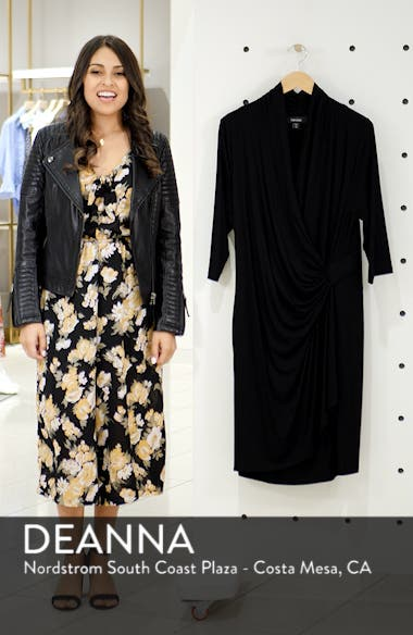 Three Quarter Sleeve Jersey Cascade Faux Wrap Dress, sales video thumbnail